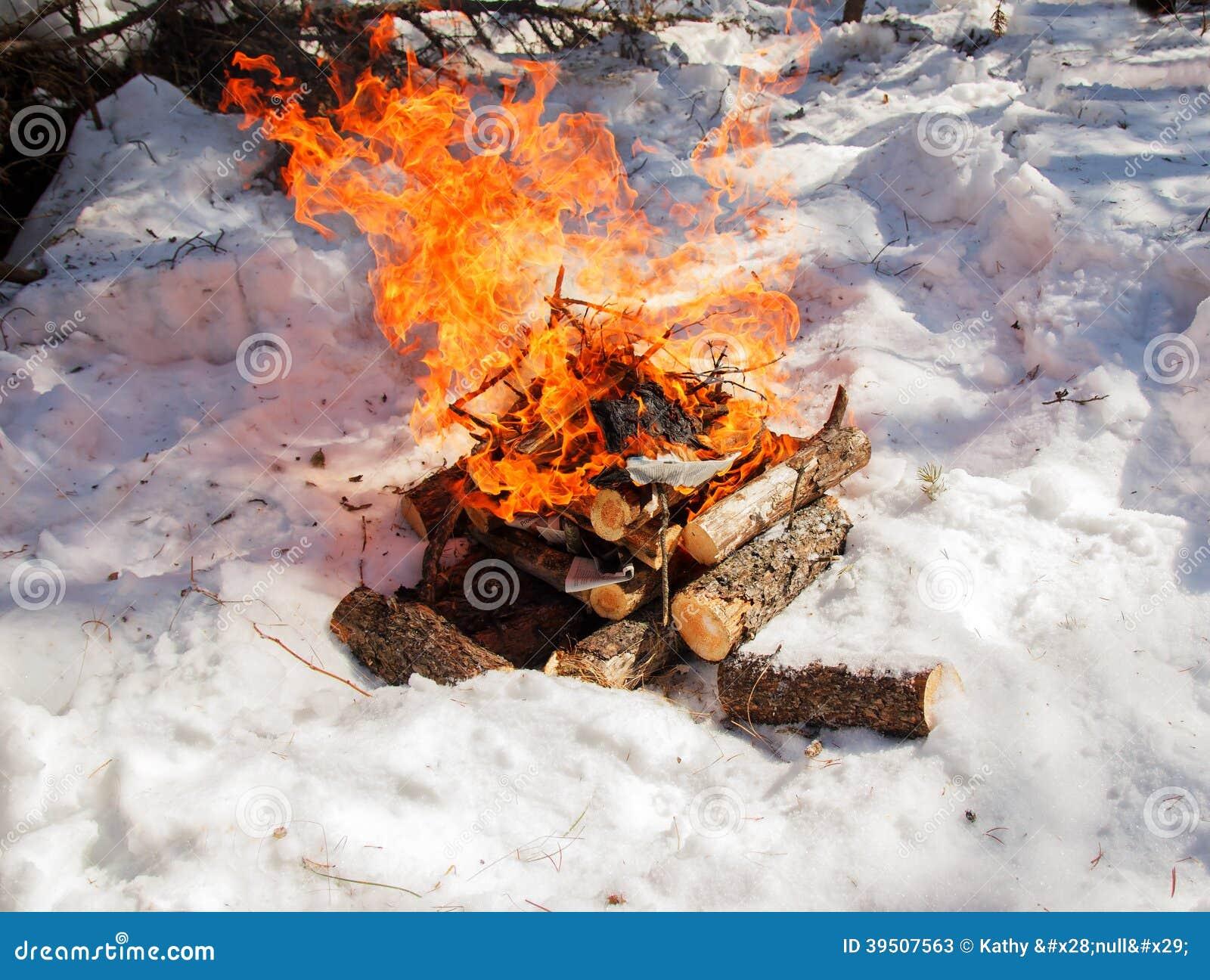 Bonfire on snow