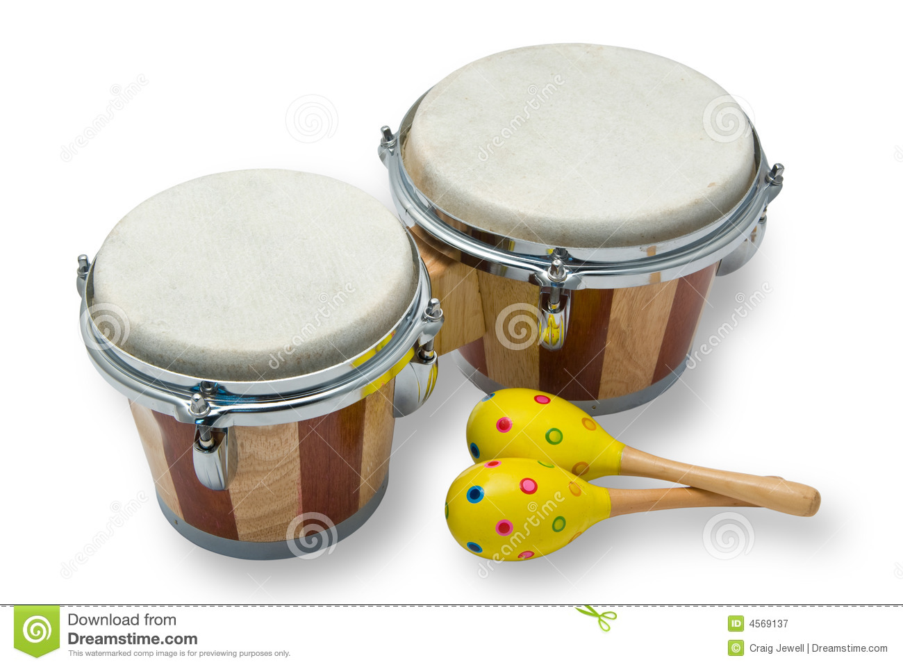 Royalty Free Stock Photography: Bongo Drums and Maracas Isolated on ...