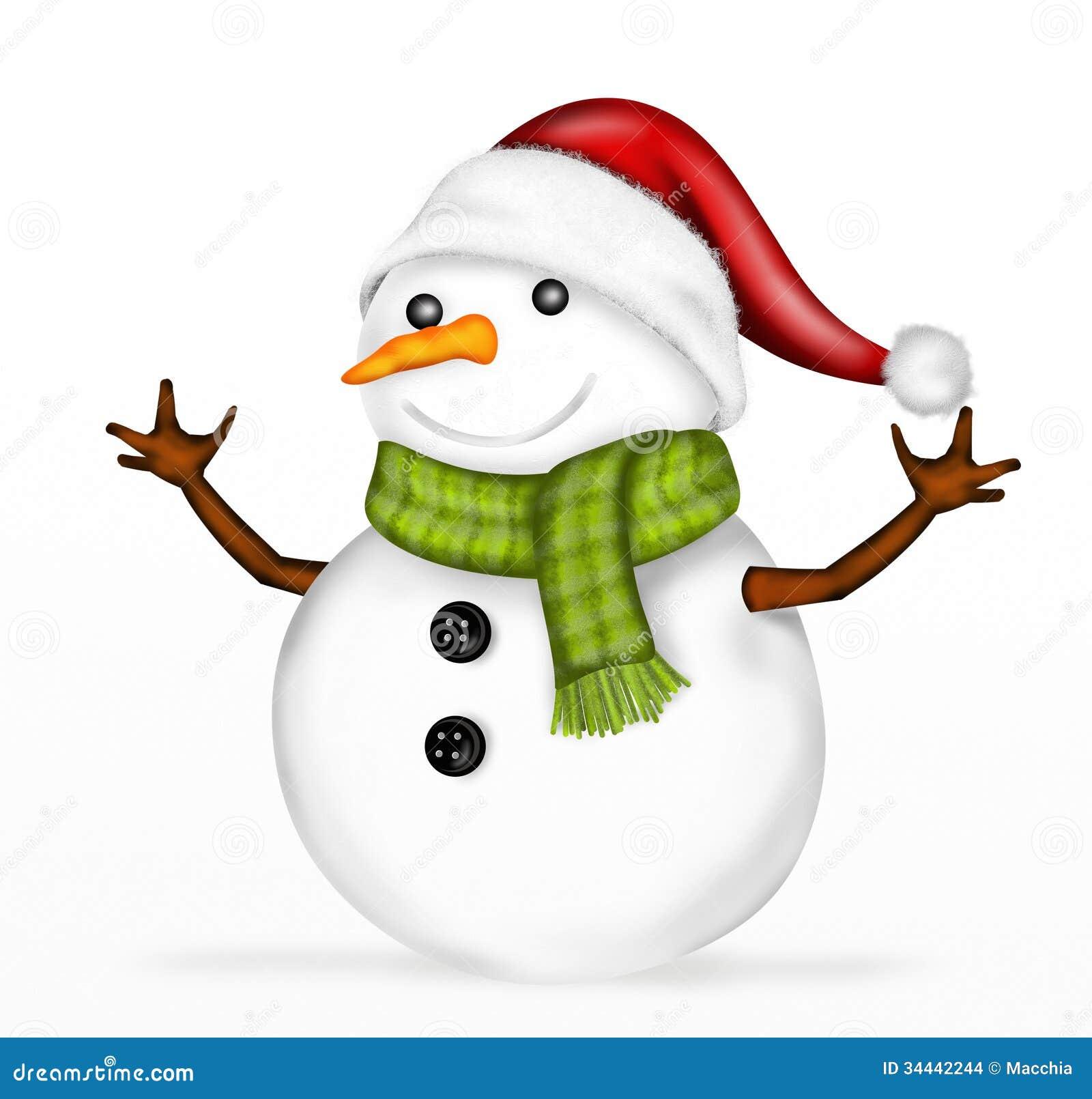 Bonhomme de neige avec le fond blanc illustration stock - Clipart bonhomme de neige ...
