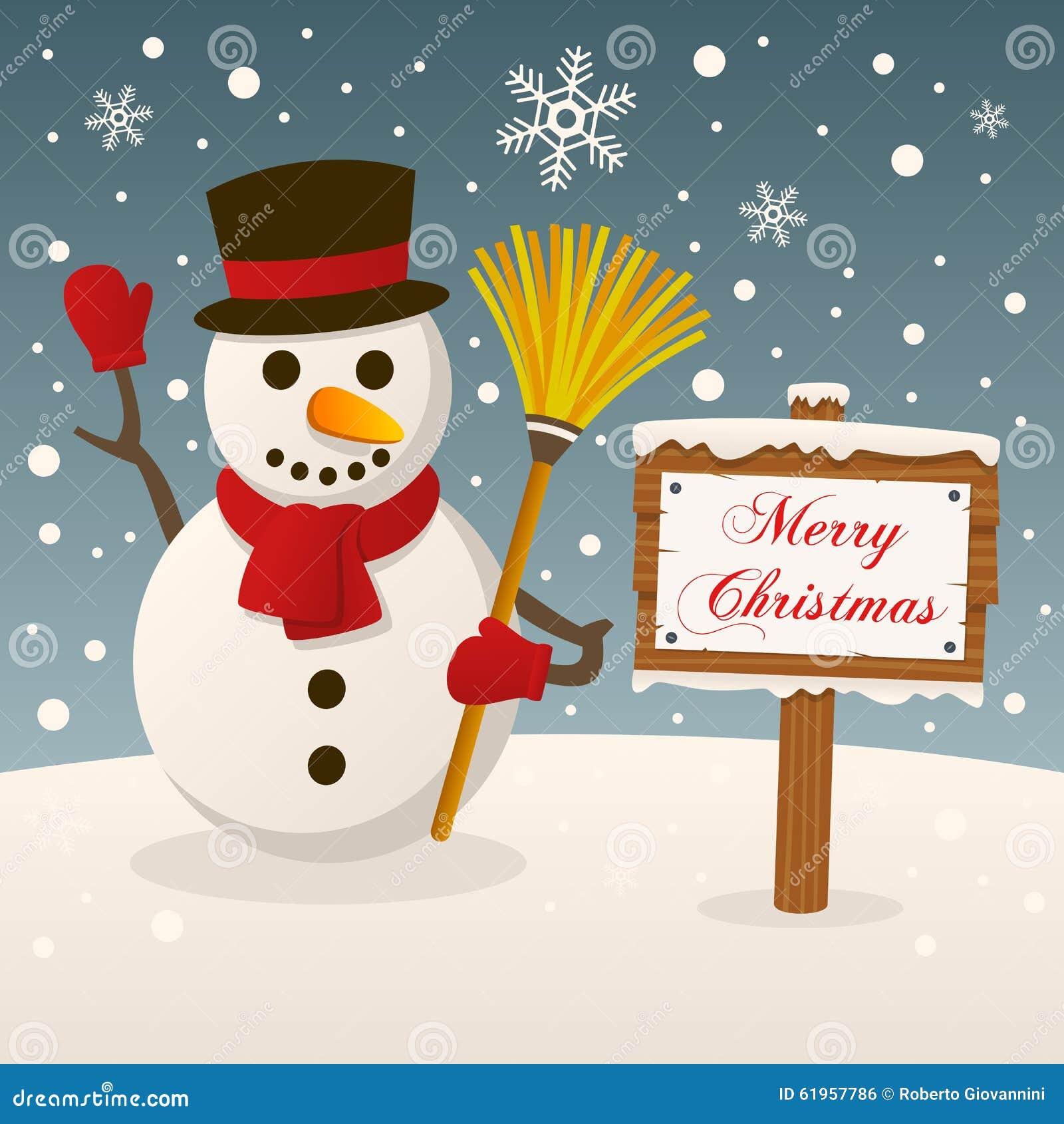 Bonhomme de neige avec le signe de Joyeux Noël
