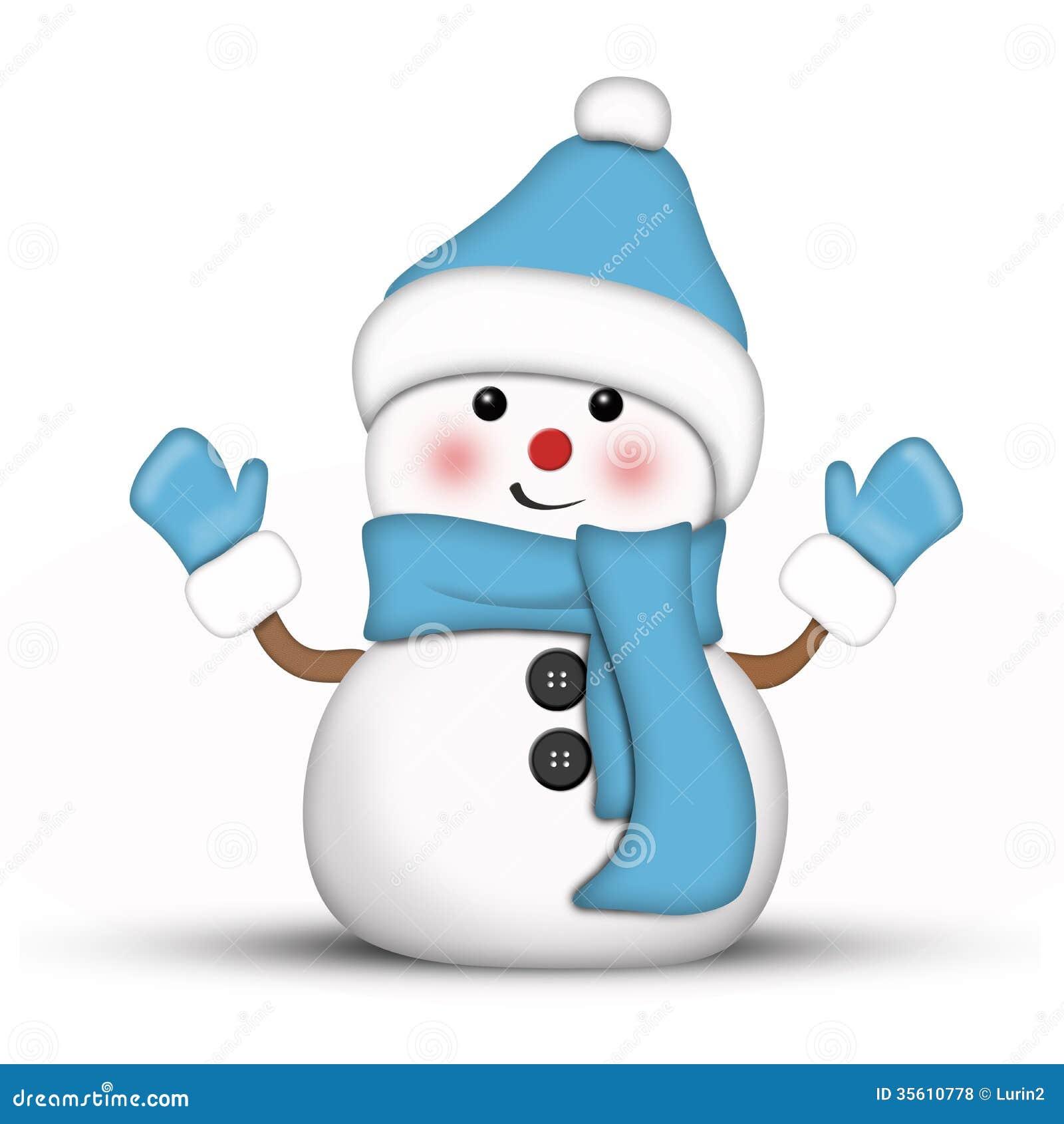 bonhomme de neige d 39 une mani re amusante habill dans le bleu photos libres de droits image. Black Bedroom Furniture Sets. Home Design Ideas