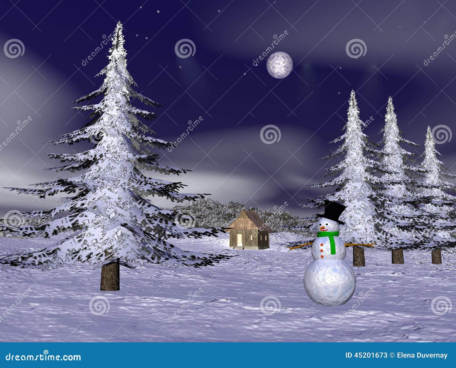 Bonhomme De Neige De Noel A La Montagne 3d Rendent Illustration
