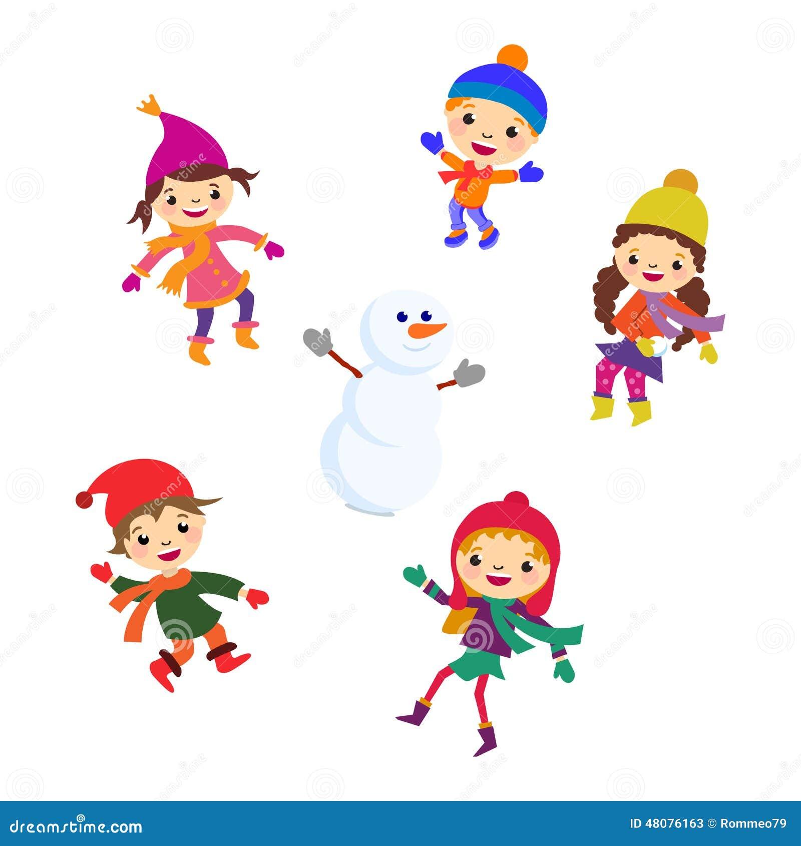 Bonhomme de neige de petite fille d 39 hiver neige de gar on de no l illustration de vecteur - Bonhomme fille ...