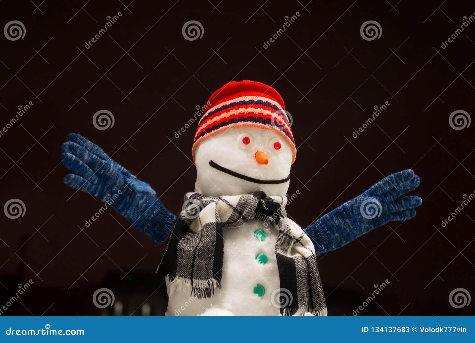 Bonhomme de neige drôle Beau bonhomme de neige dans des sourires rouges et des mains d un chapeau