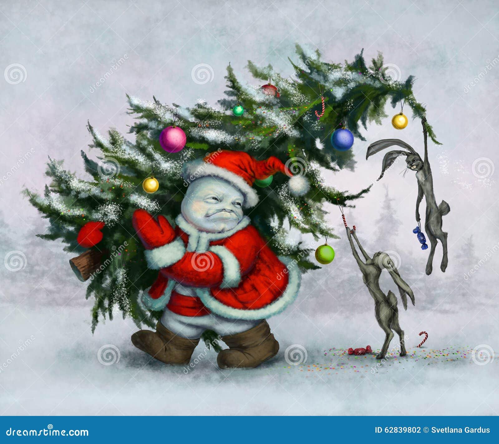 Bonhomme de neige et lièvres