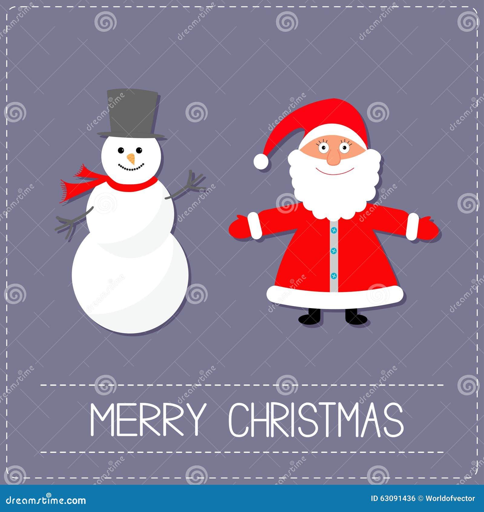 Download Bonhomme De Neige Et Santa Claus De Bande Dessinée Fond Violet Ligne De Tiret Carte De Joyeux Noël Conception Plate Illustration de Vecteur - Illustration du humorous, célébrez: 63091436