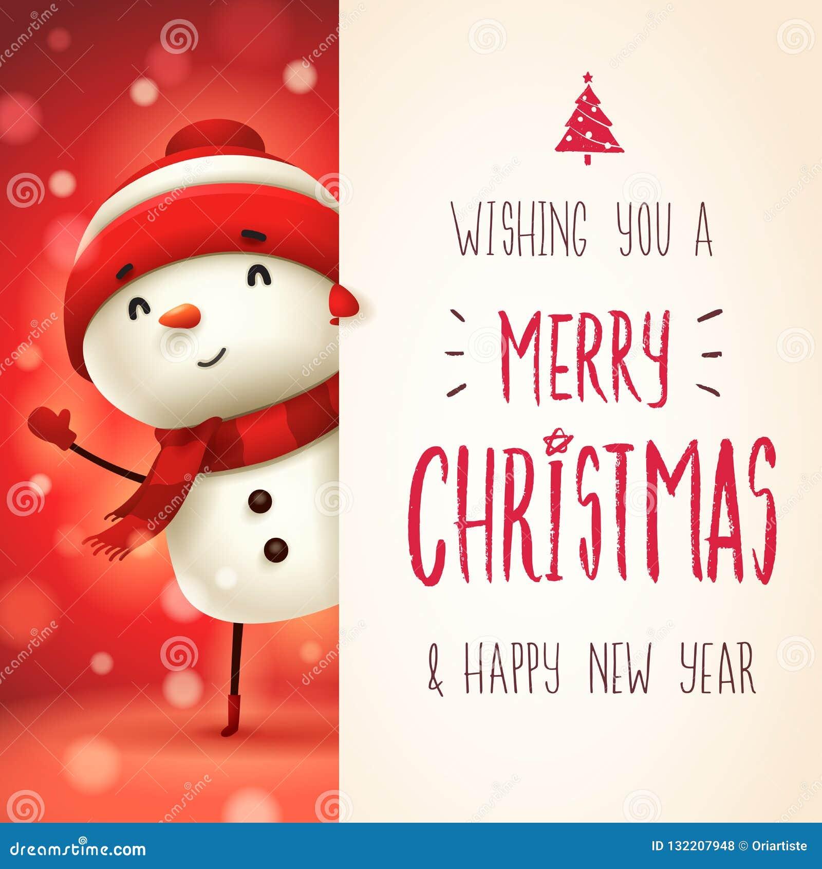 Bonhomme de neige gai avec la grande enseigne Conception de lettrage de calligraphie de Joyeux Noël