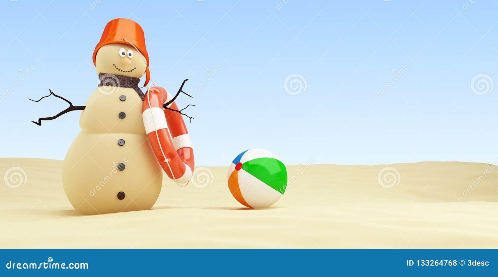 Bonhomme de neige de Sandy sur la bouée de sauvetage de plage sur une illustration blanche du fond 3D, rendu 3D