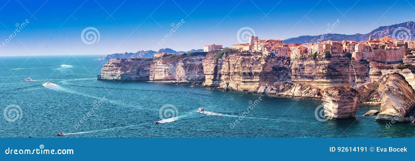 Bonifacio on beautiful white rock cliff with sea bay, Corsica, France, Europe.