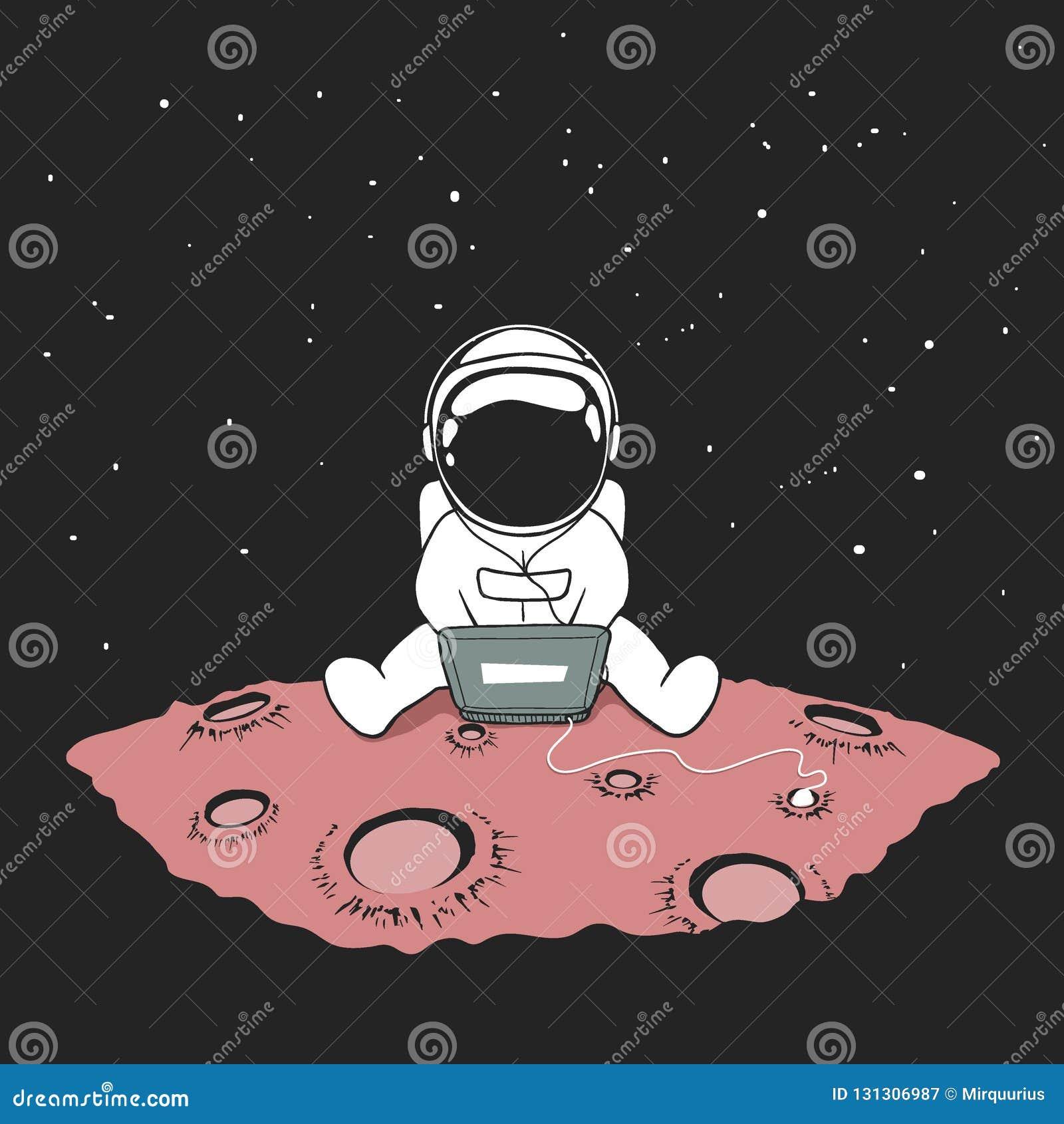 Bonito um astronauta senta-se no Internet