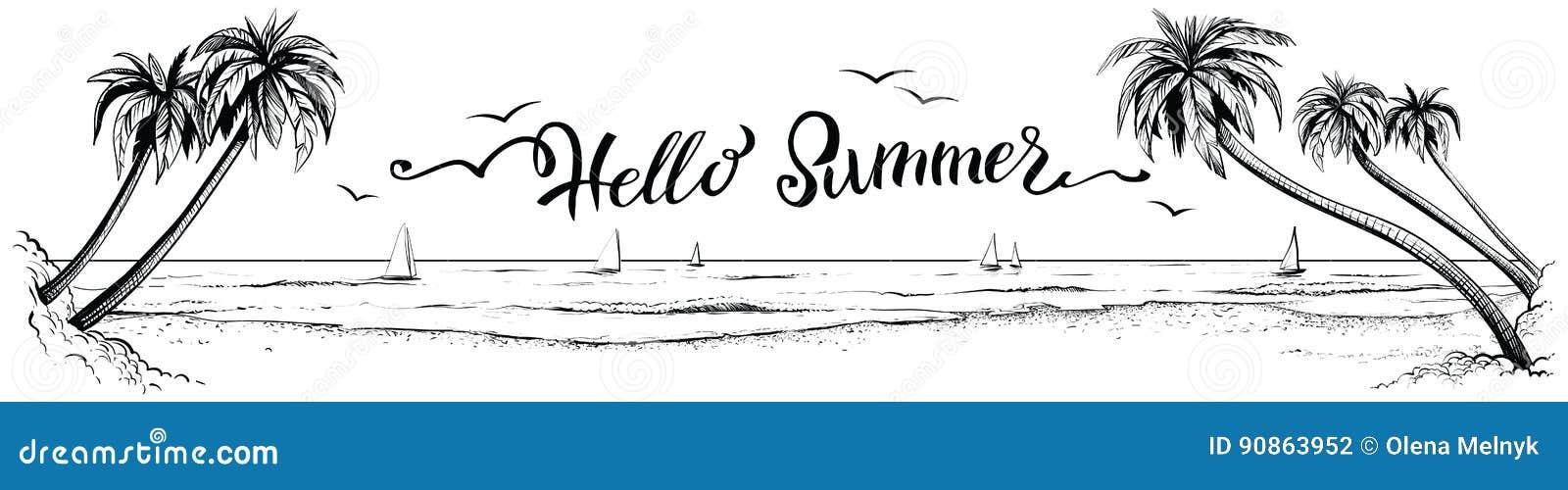 Bonjour été, marquant avec des lettres avec la vue panoramique de plage Illustration de vecteur