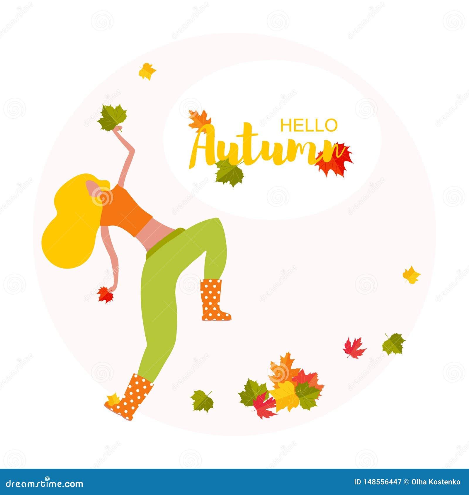 Bonjour affiche d automne Jeune femme de danse avec la feuille d automne