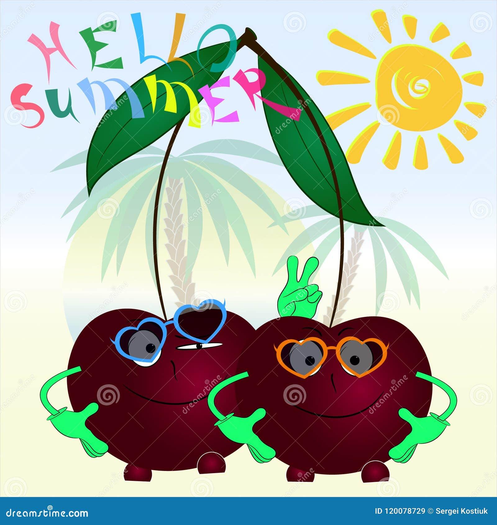 Bonjour affiche de bande dessinée de cerises de l été deux
