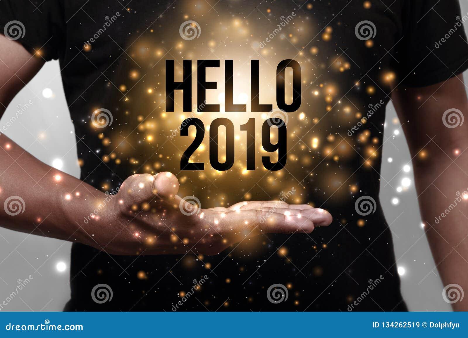 Bonjour 2019 avec la main