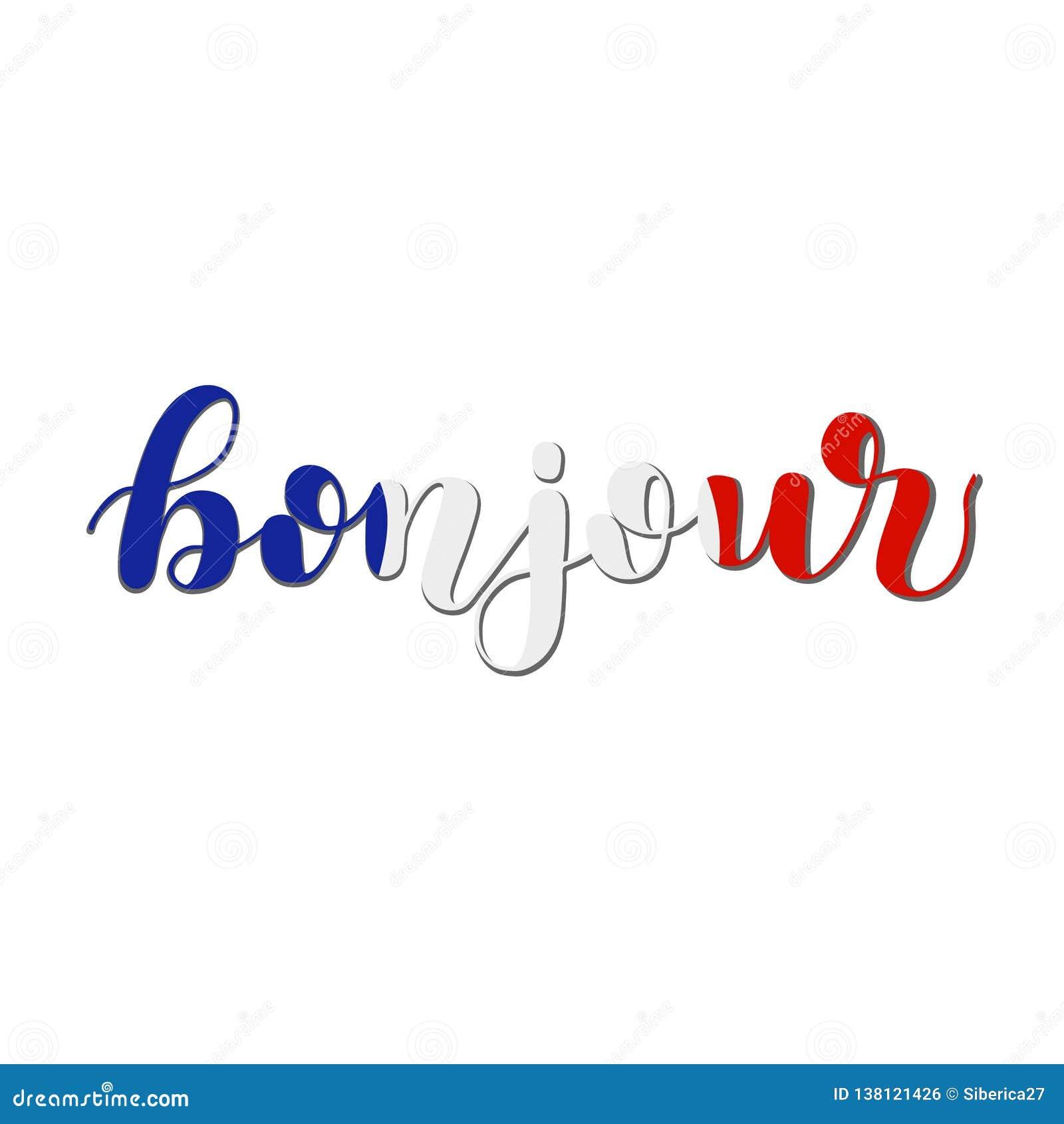 Bonjour Bom Dia Em Francês Ilustração Da Rotulação Da Mão