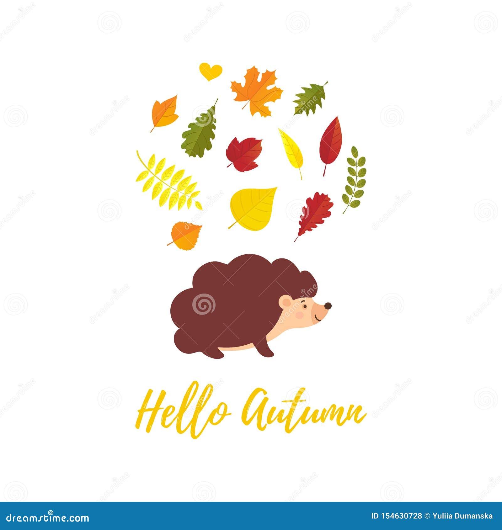Bonjour carte de voeux d automne avec les feuilles d automne en baisse et le style plat de hérisson de bande dessinée Automne de