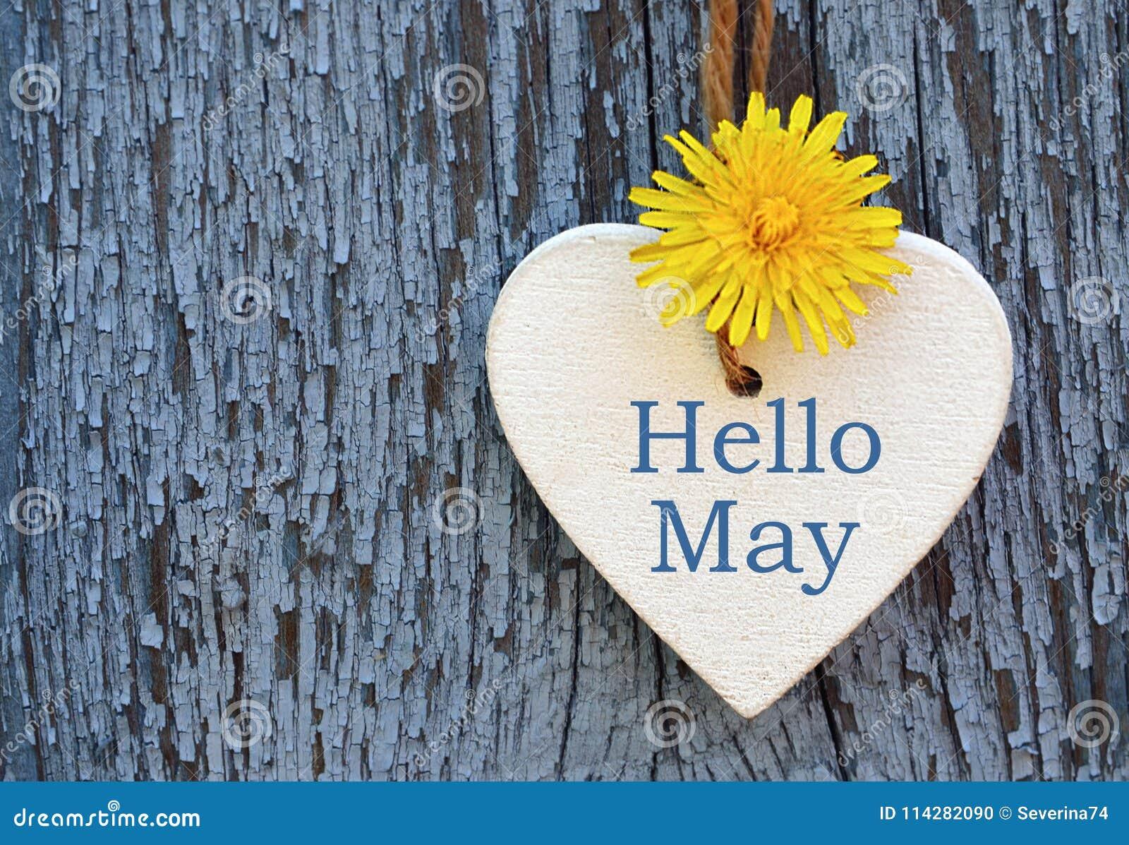 Bonjour Carte De Voeux De Mai Avec La Fleur Jaune Blanche Decorative