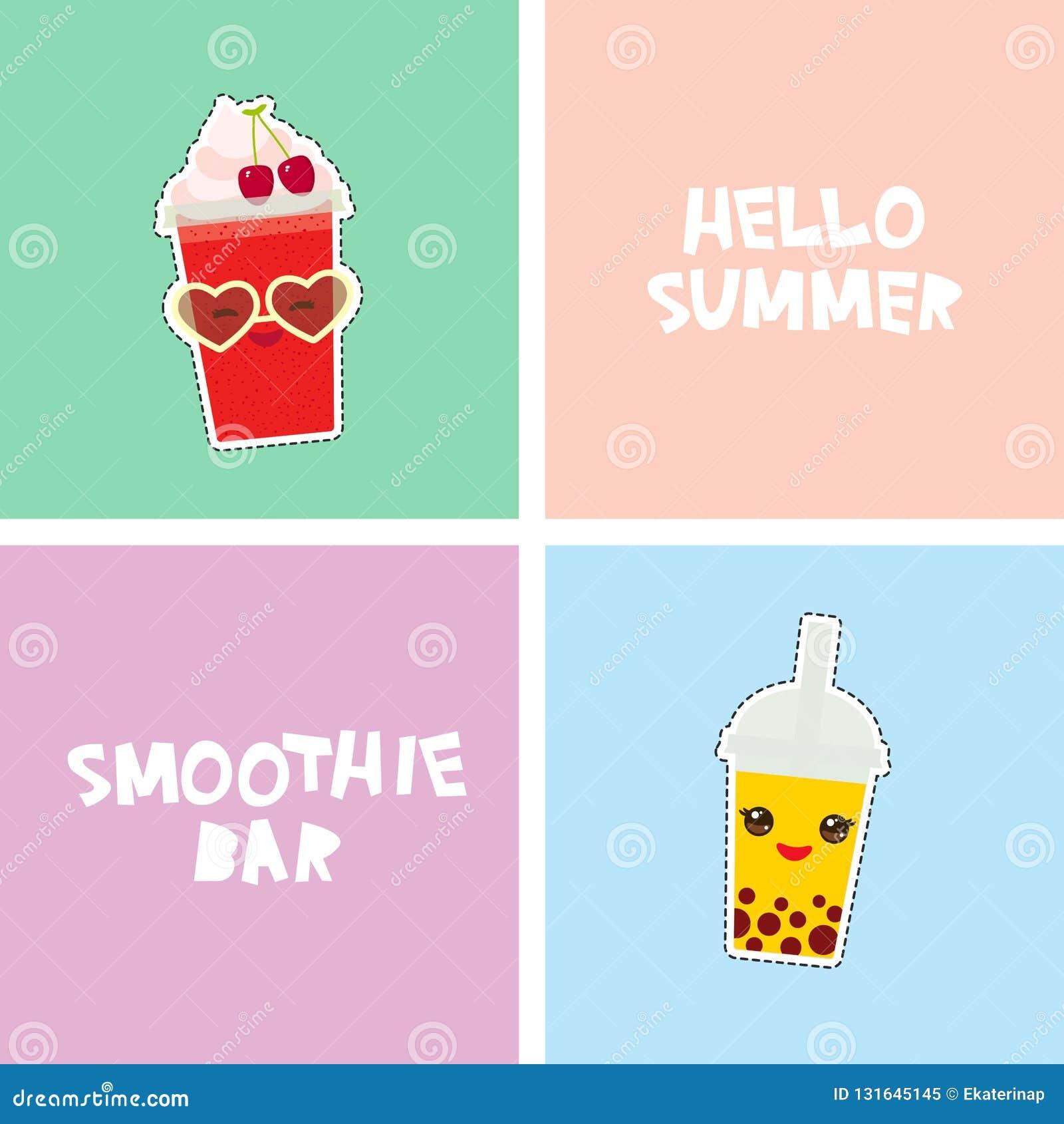 Bonjour conception tropicale lumineuse de bannière de carte de barre de Smoothie d été, autocollants d insignes de corrections de