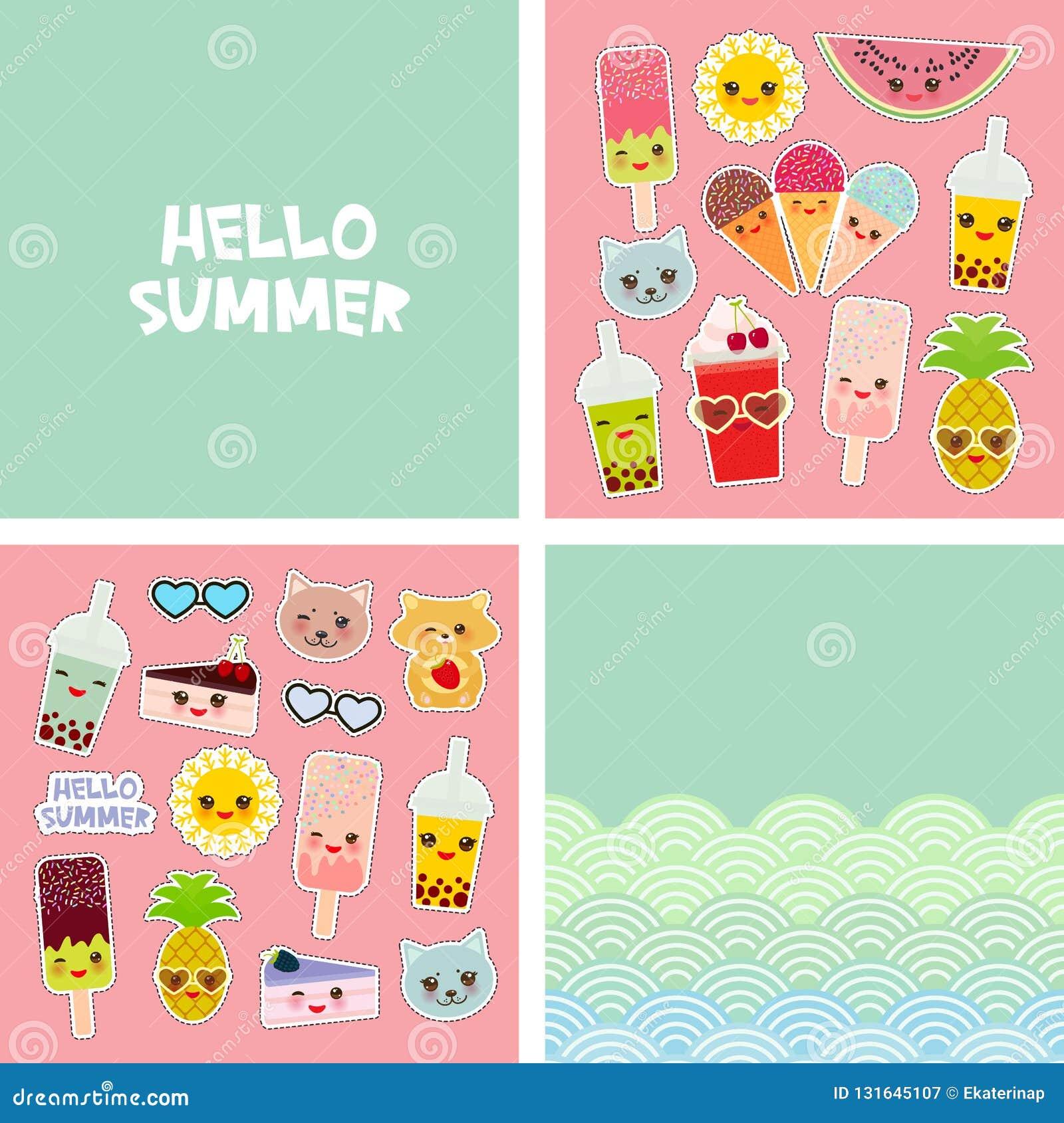 Bonjour conception tropicale lumineuse de bannière de carte d été, autocollants d insignes de corrections de mode Ananas de chat,