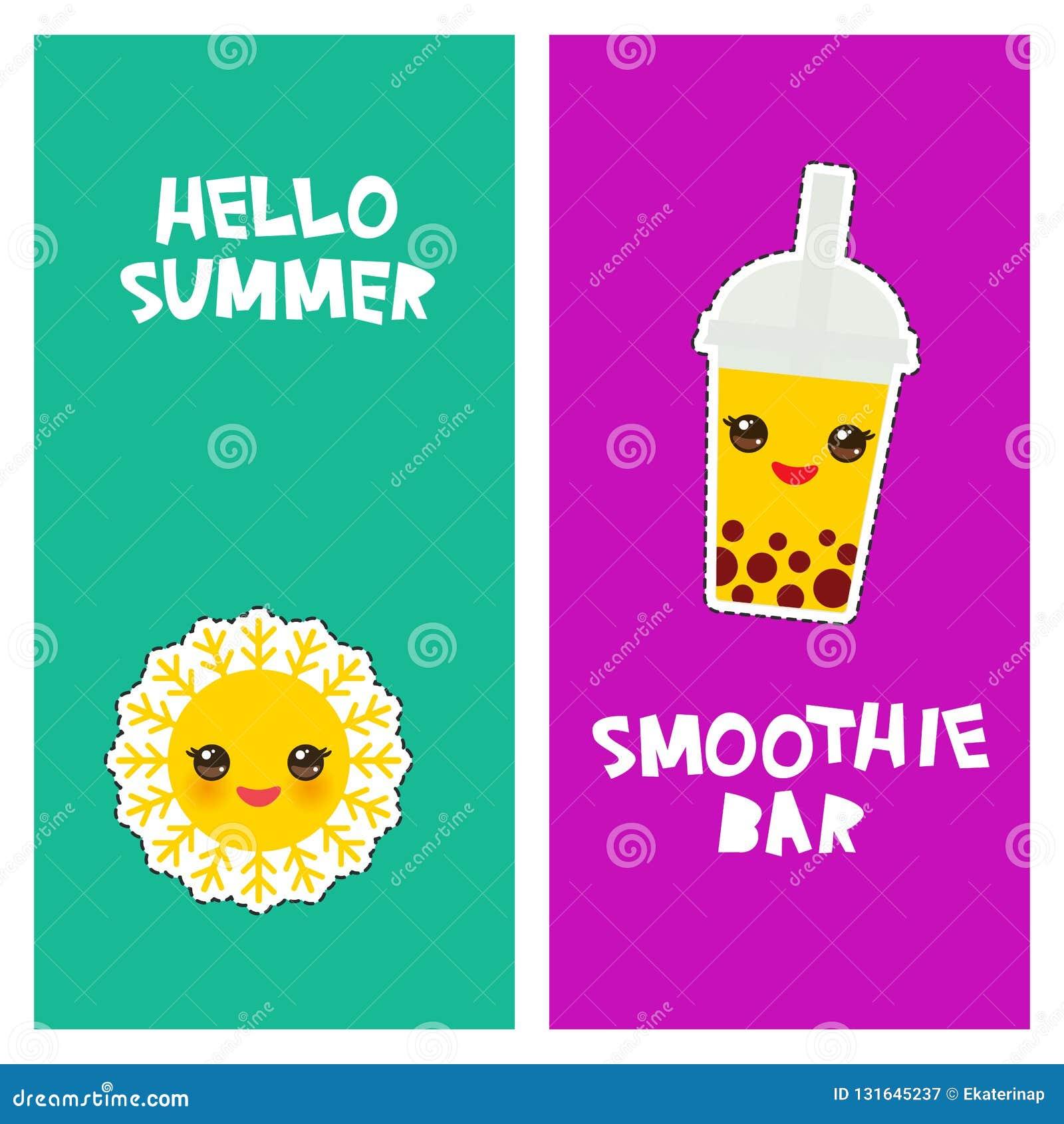 Bonjour conception tropicale lumineuse de bannière de carte d été, autocollants d insignes de corrections de mode thé de bulle, l