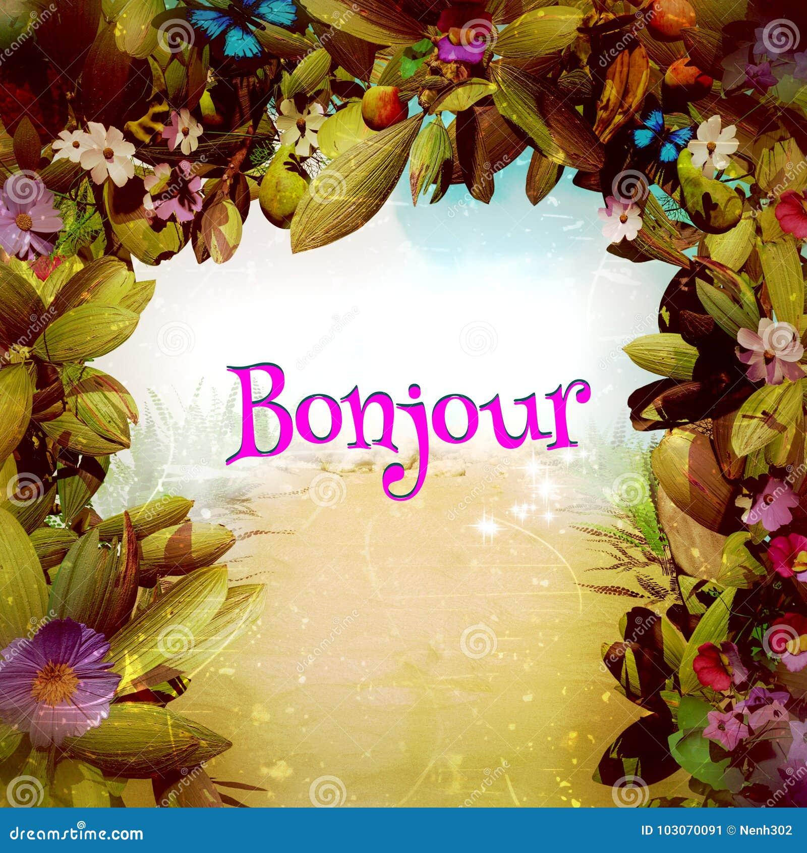 Bonjour in einem magischen Fantasie-Blumen-Tor