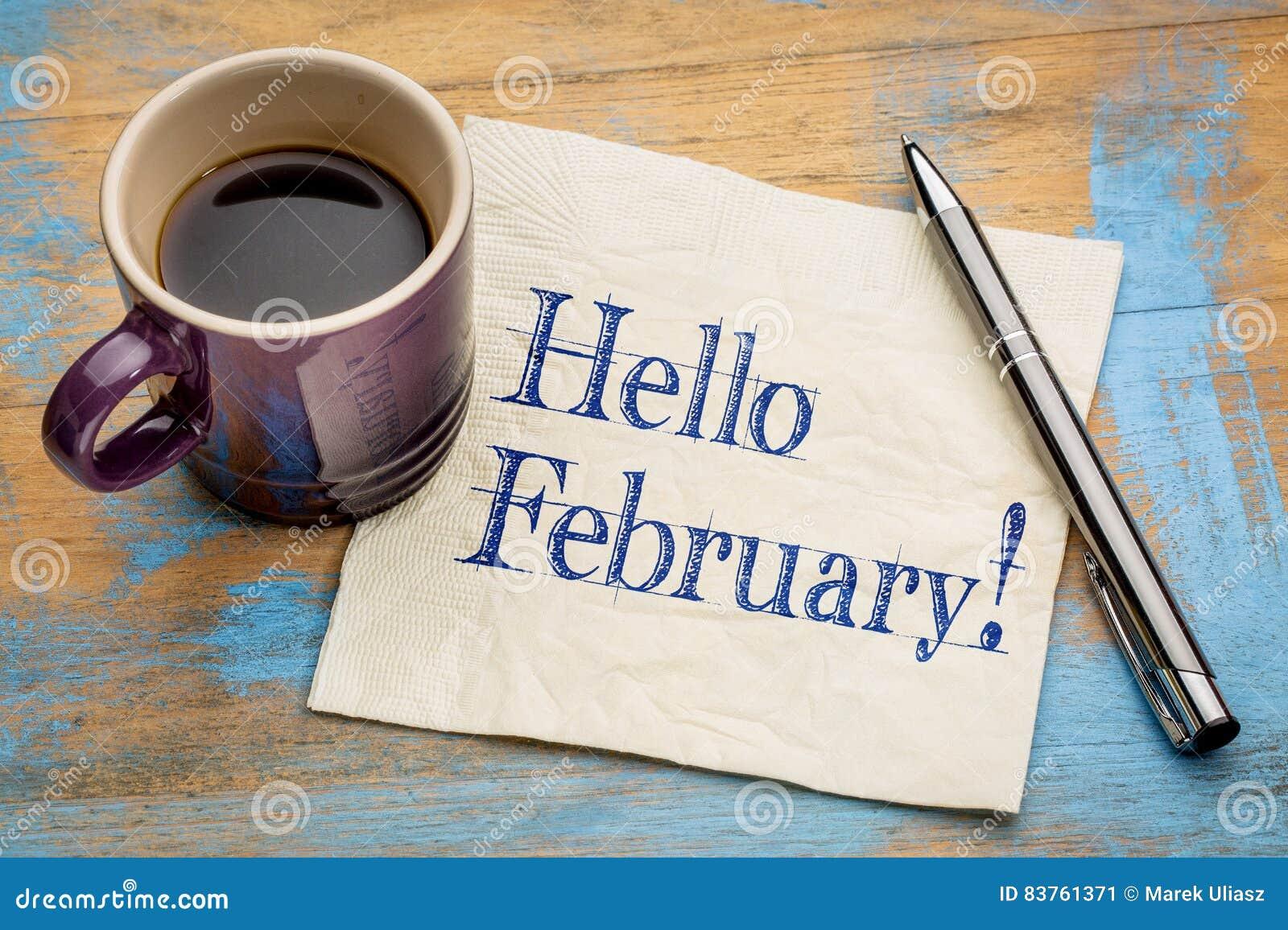 Bonjour février sur la serviette