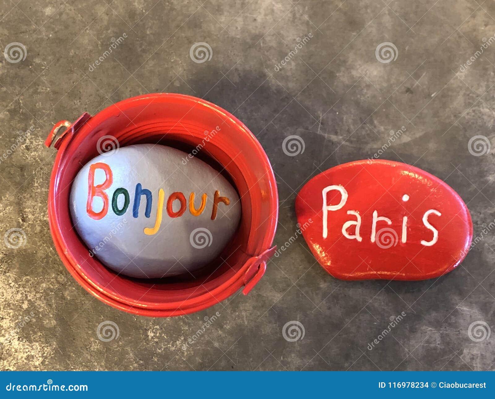 Bonjour Guter Morgen In Paris Mit Farbigen Steinen