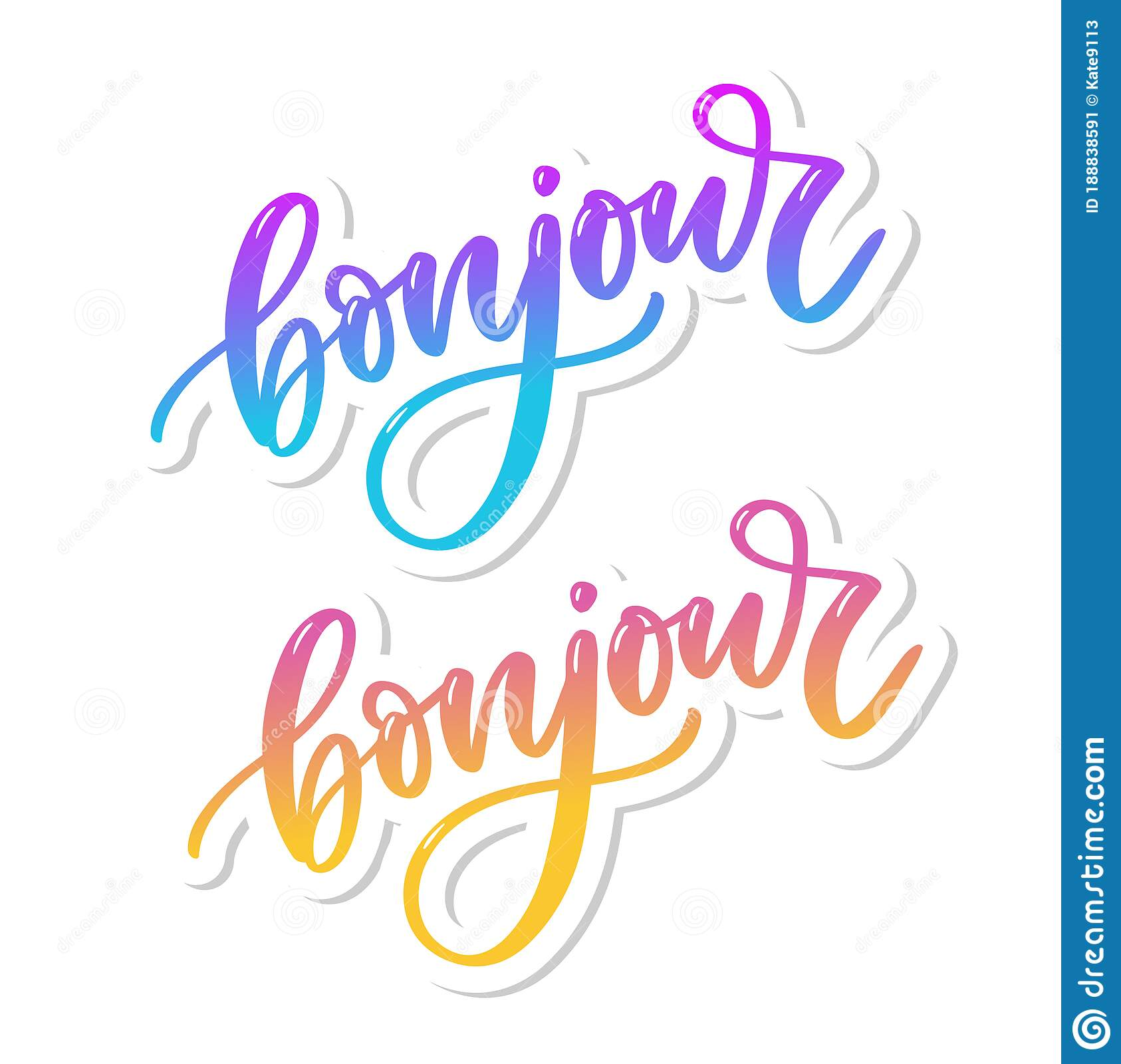 Bonjour Inscription Good Day In French Greeting Card With Calligraphy Hand Drawn Design Black And White Stock Illustration Illustration Of Design Artistic 188838591