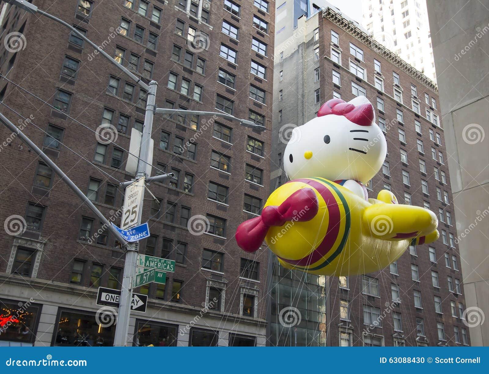 Download Bonjour Kitty Balloon Dans Le Quatre-vingt-dix-neuvième Défilé Annuel De Macy's Image éditorial - Image du chat, ventilateurs: 63088430