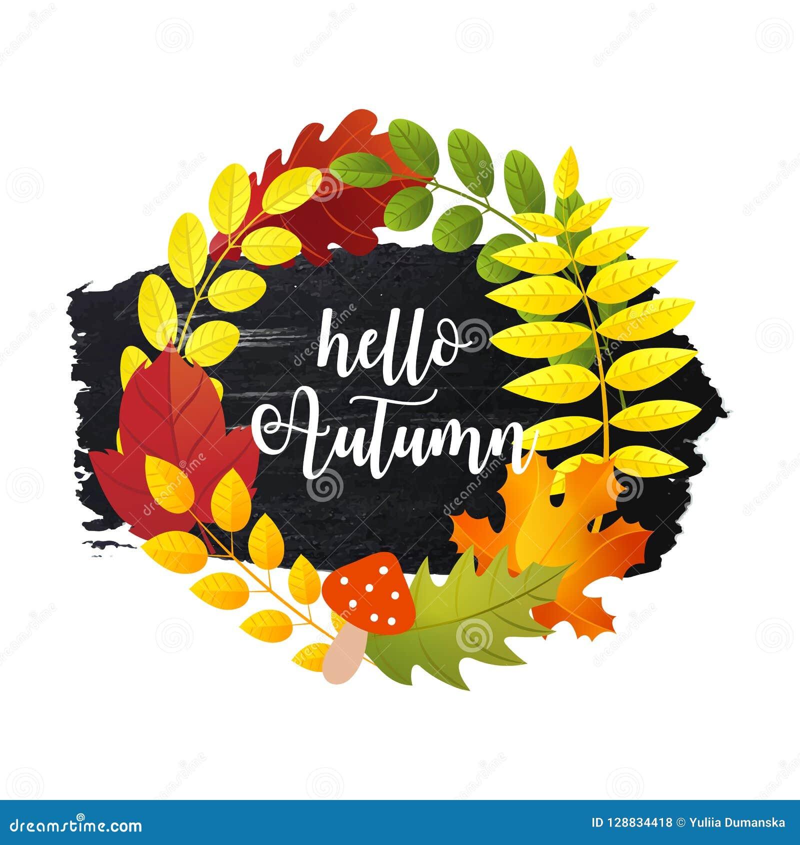 Bonjour la carte de voeux d automne avec des feuilles d automne tressent et course tirée par la main de brosse