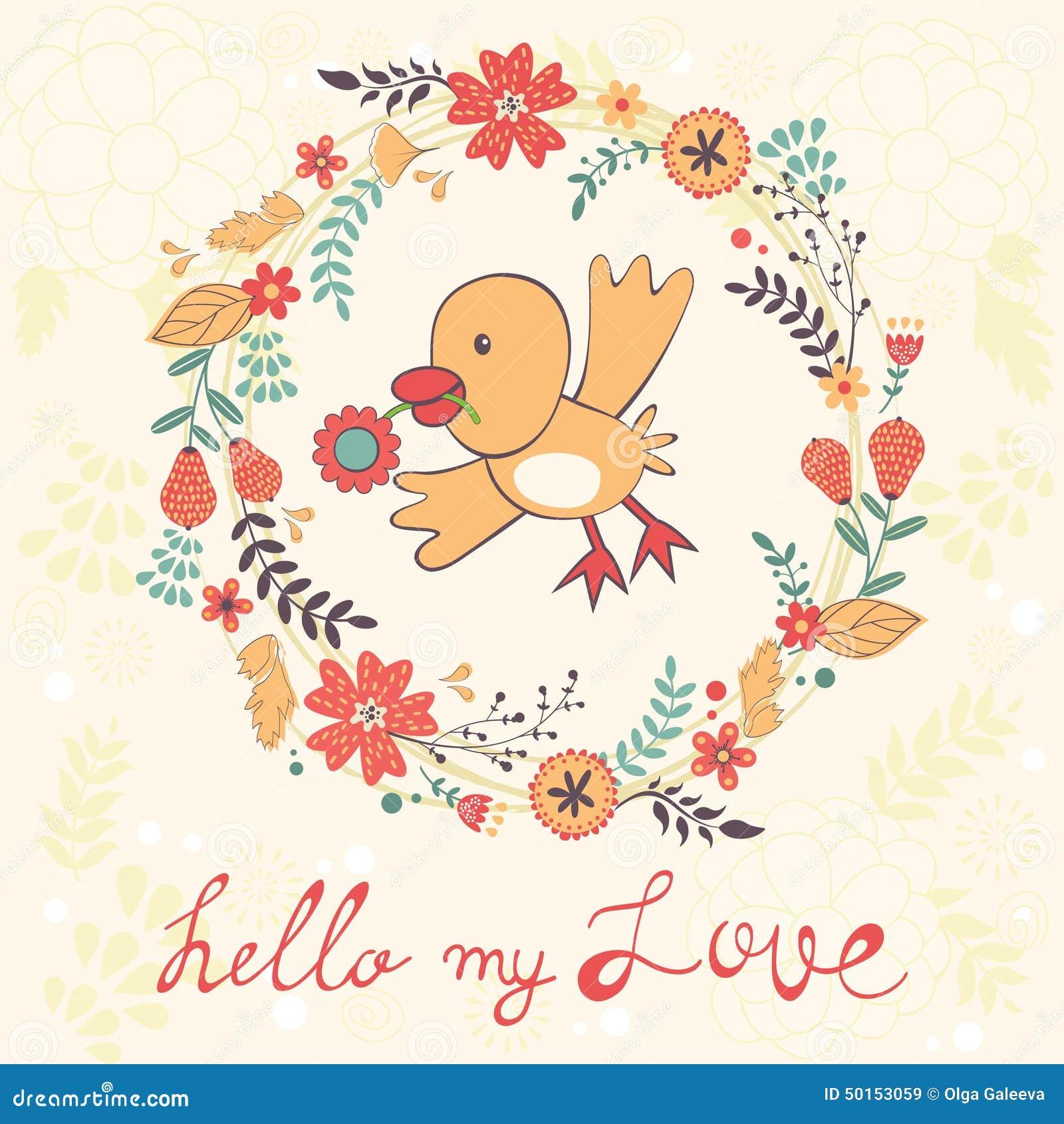 bonjour ma carte d 39 amour avec l 39 oiseau illustration de. Black Bedroom Furniture Sets. Home Design Ideas