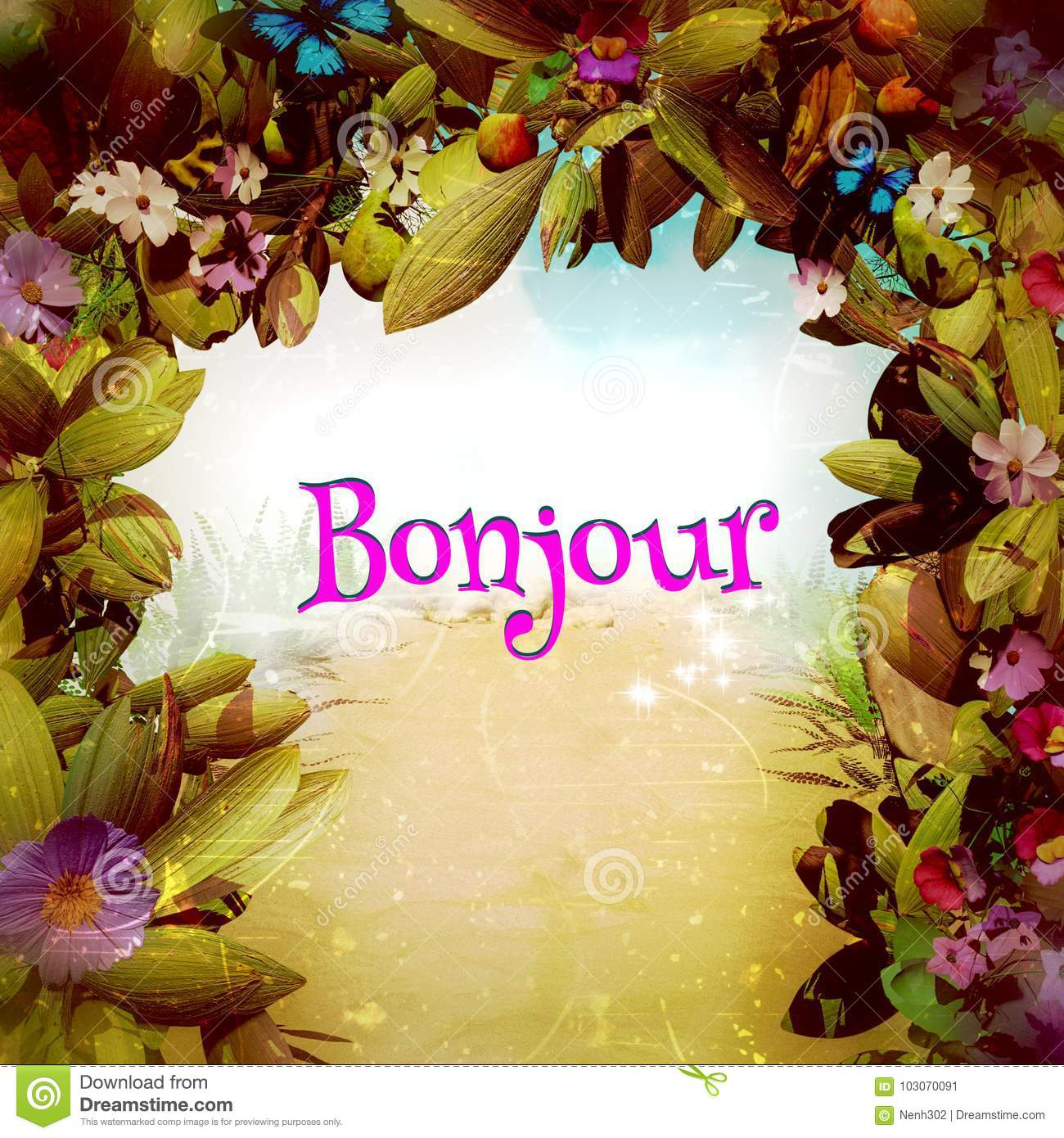 Bonjour In A Magical Fantasy Flower Gate Stock Illustration
