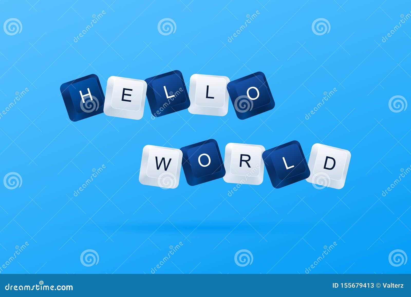 BONJOUR message du MONDE d un premier programme informatique BONJOUR mot de message du MONDE écrit avec des boutons d ordinateur