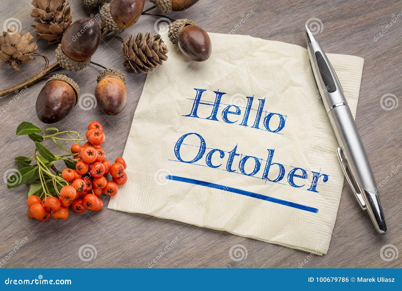 Bonjour octobre sur la serviette