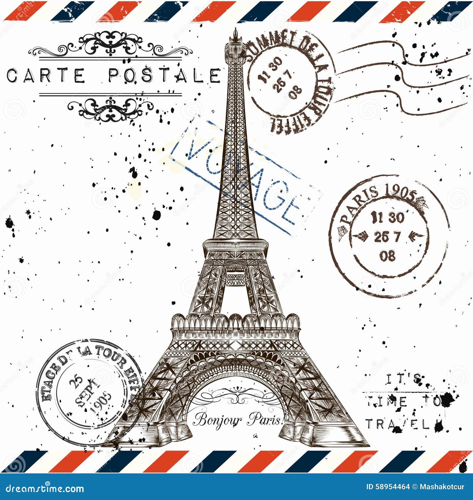 Bonjour Paris Imitation De Carte Postale De Vintage Avec Le Remorquage D'Eiffel Illustration ...