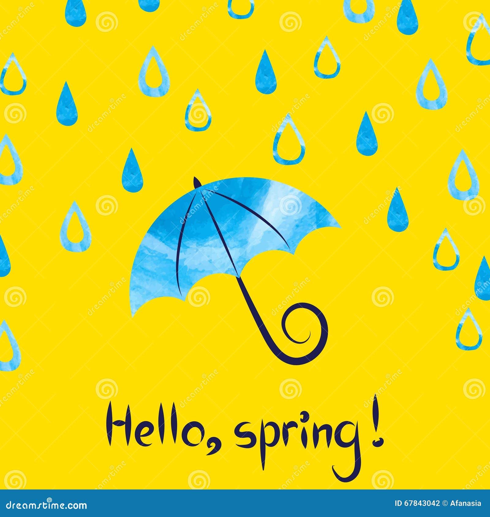 Bonjour Ressort Illustration De Vecteur Avec Le Parapluie Et