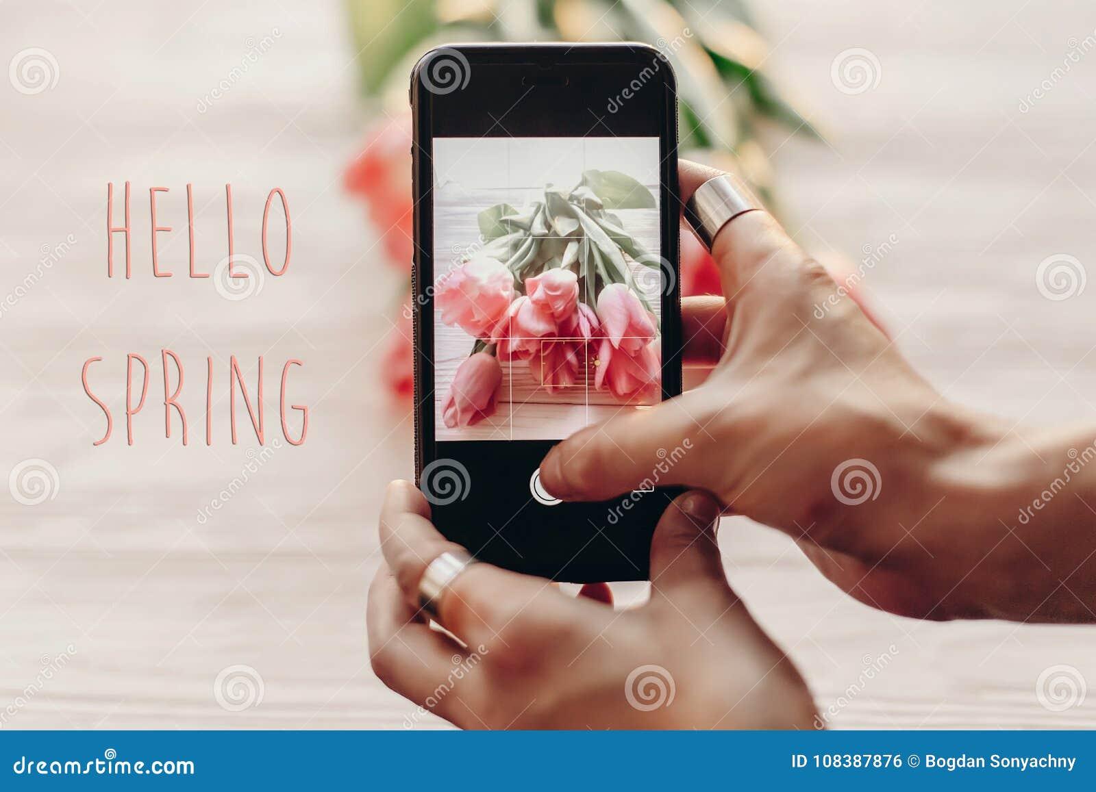 Bonjour signe des textes de ressort, téléphone de participation de main prenant la photo des stylets