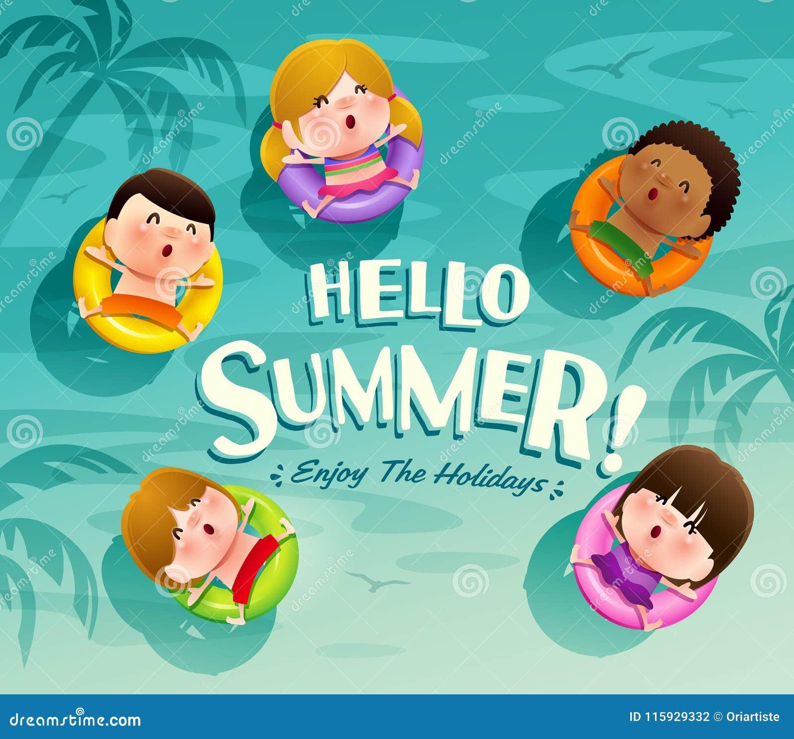 Bonjour Vacances D été Le Groupe D Enfants Flotte Sur L