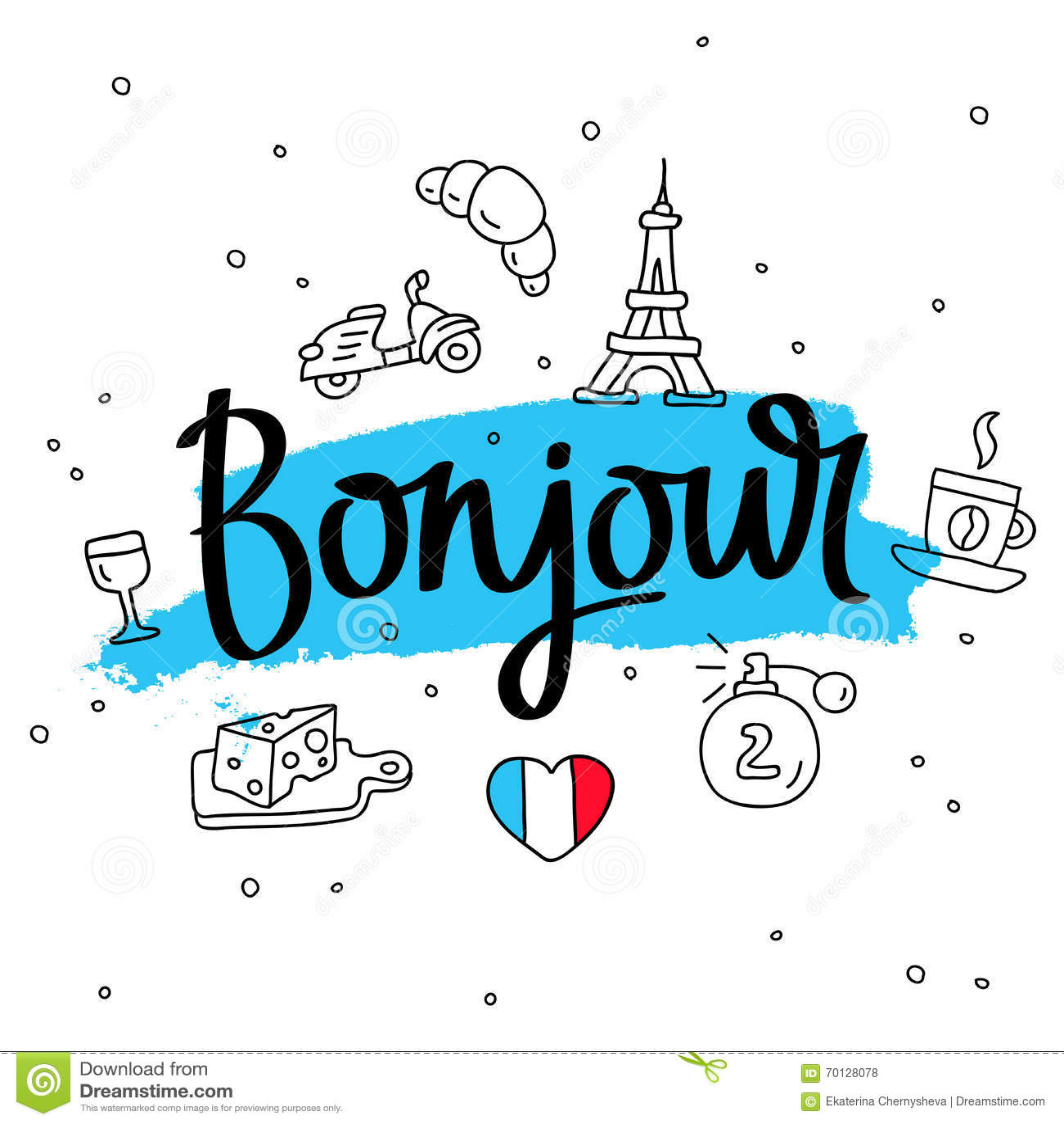 bonjour wort hallo auf franz sisch moderne kalligraphie vektor abbildung bild 70128078 On hallo auf französisch