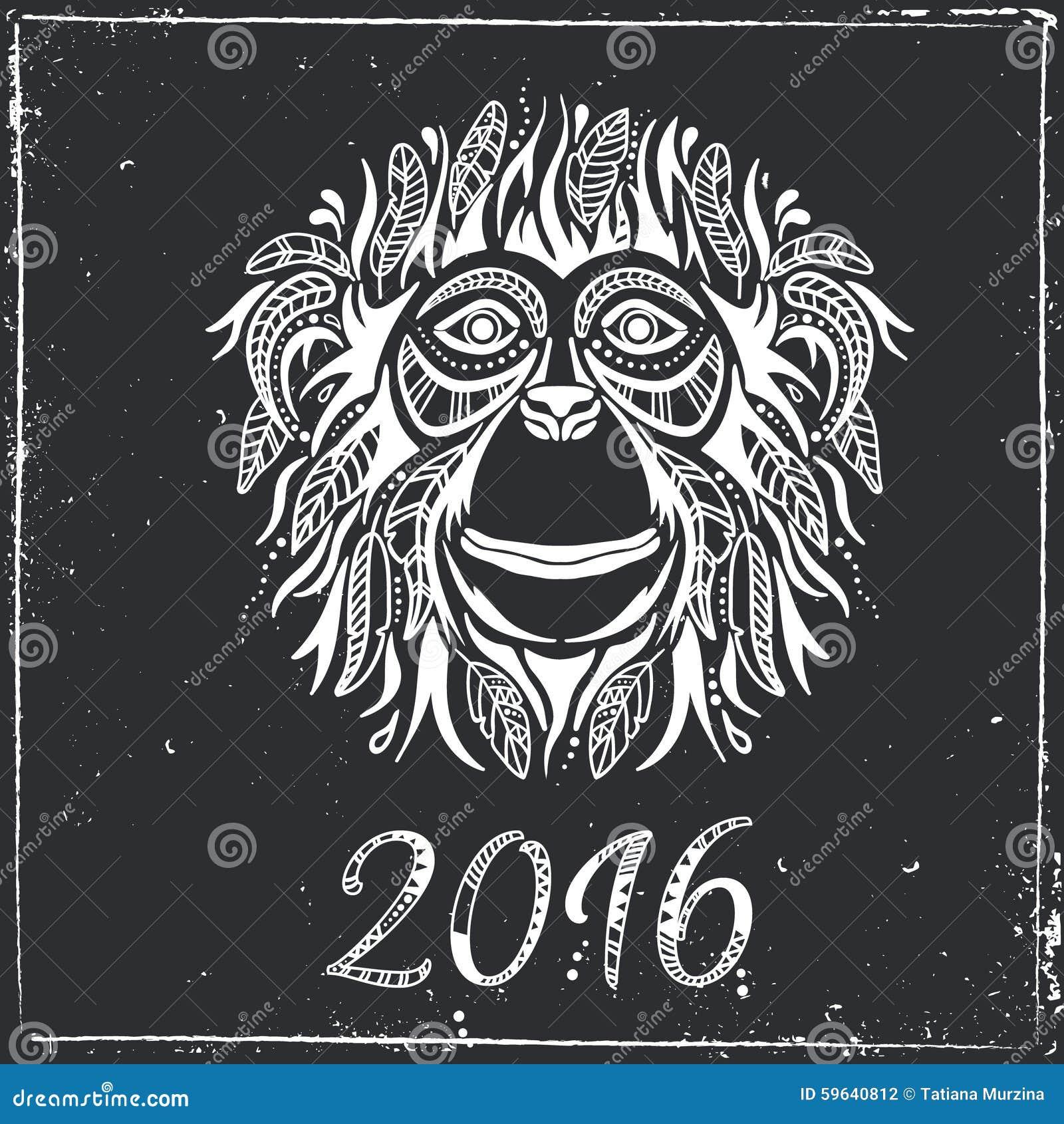 bonne ann e 2016 ann e du singe illustration de vecteur image 59640812. Black Bedroom Furniture Sets. Home Design Ideas