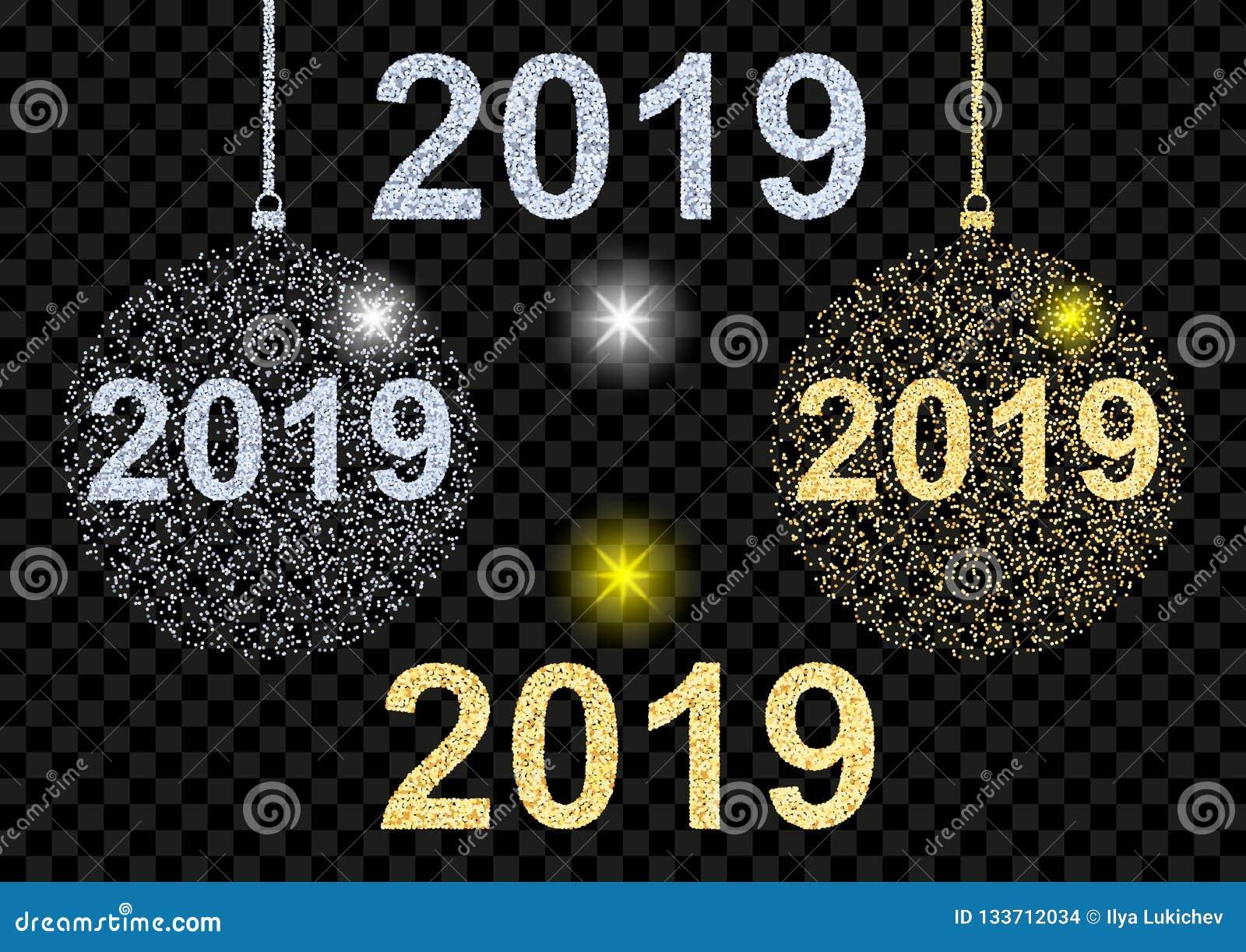 Bonne année 2019 Boule brillante d or et argentée de Noël de texture pendant des vacances de Noël et de nouvelle année