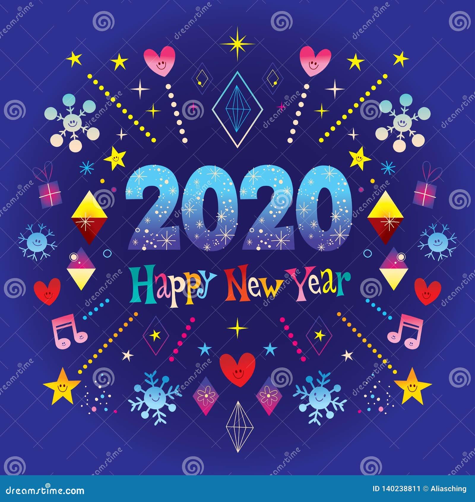 carte nouvelle année 2020 Bonne année 2020 illustration de vecteur. Illustration du festive