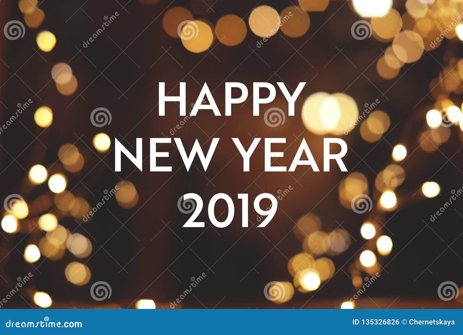 Bonne Année 2019 De Message Et Effet De Bokeh Sur Le Fond