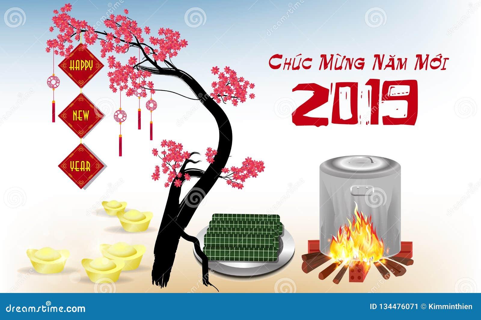 Bonne année 2019 et Joyeux Noël dans le Vietnamien