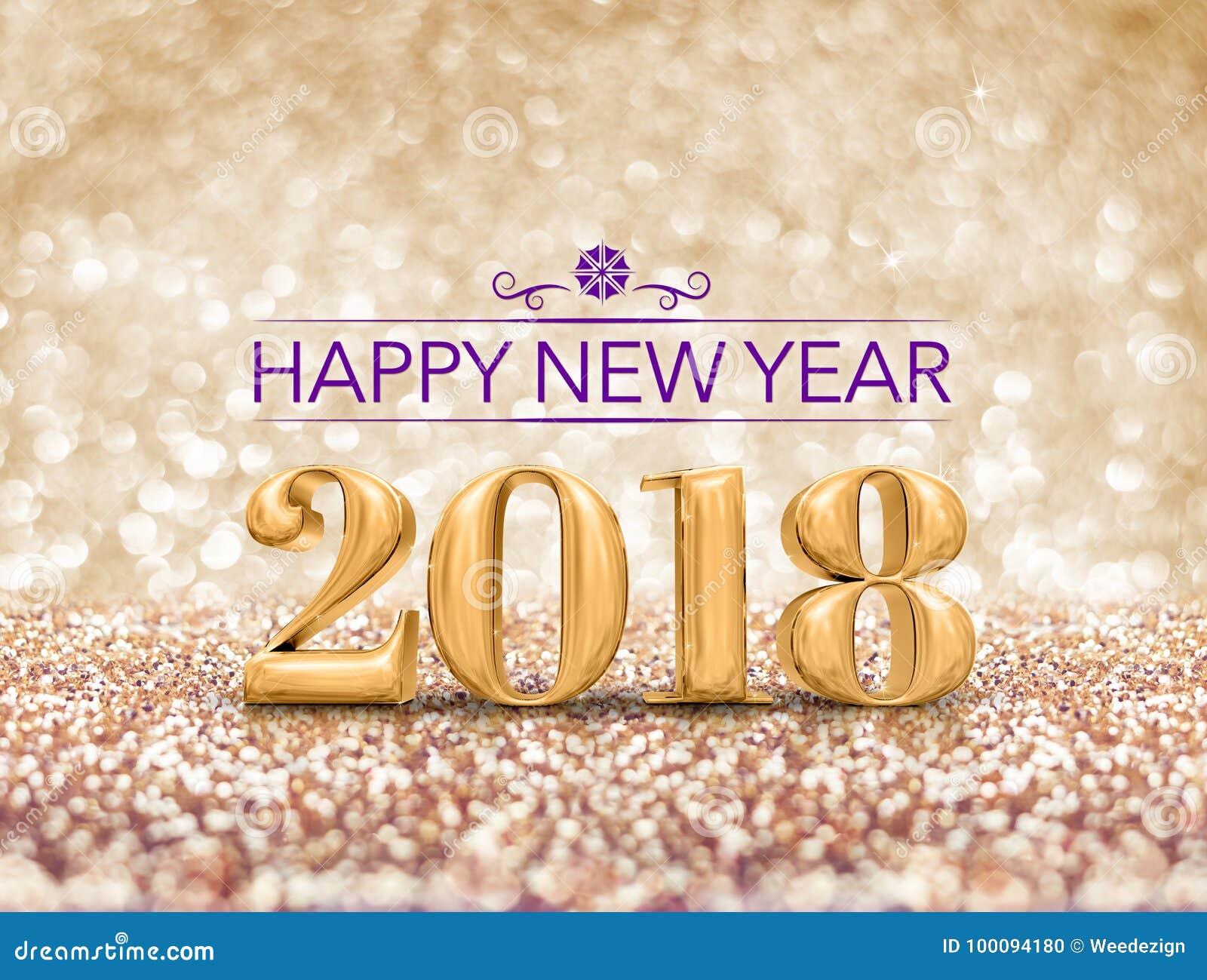 Bonne année 2018 le rendu du nombre 3d d an au scintillement vont