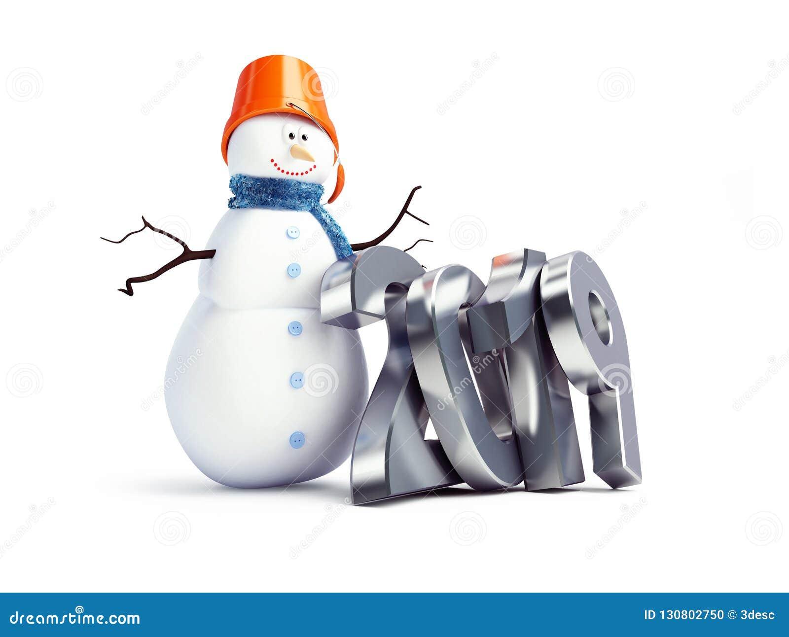 Bonne année 2019 sur une illustration blanche du fond 3D, de bonhomme de neige rendu 3D