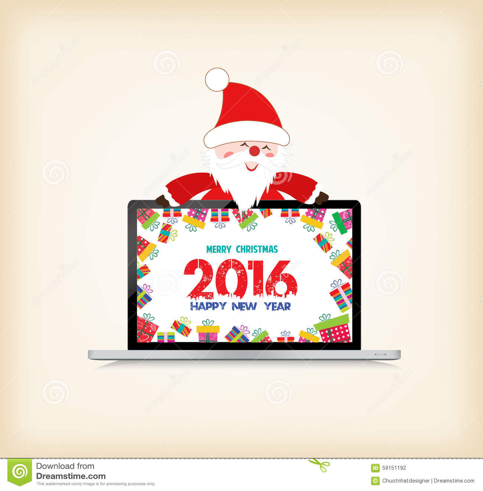 bonne ann e 2016 no l avec le p re no l et cadeau sur l 39 ordinateur portable illustration de. Black Bedroom Furniture Sets. Home Design Ideas