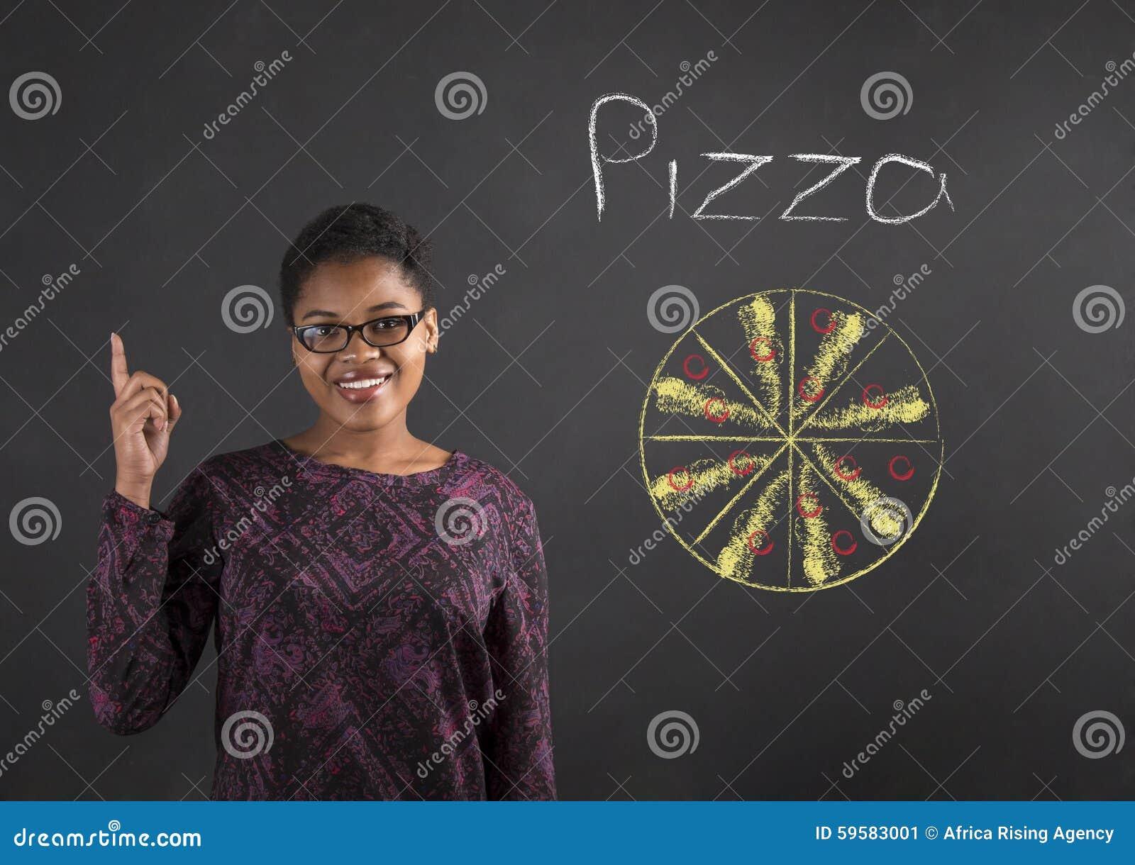 Bonne idée de femme africaine pour la pizza sur le fond de tableau noir