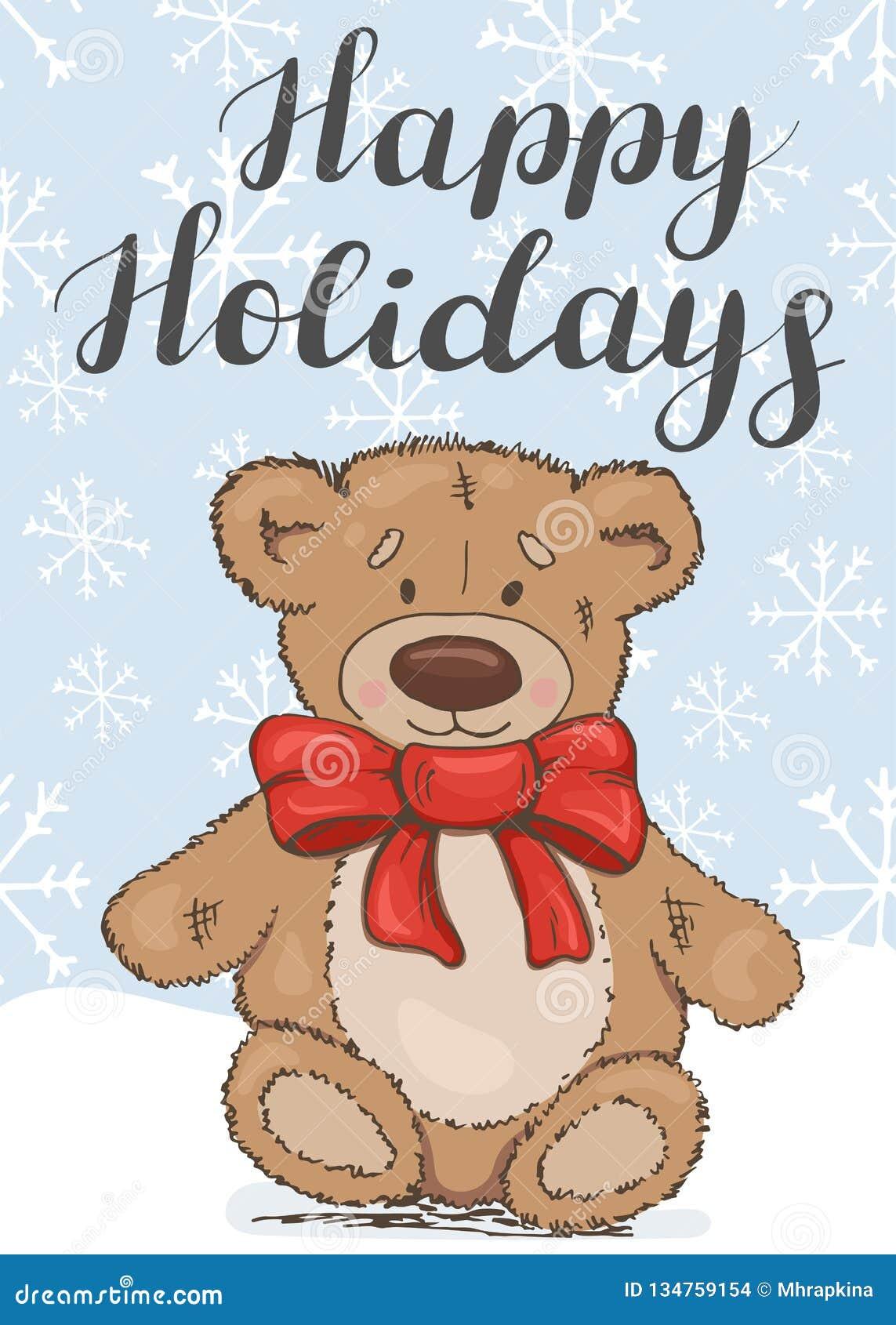 Bonnes fêtes Carte de fête avec un ours de nounours