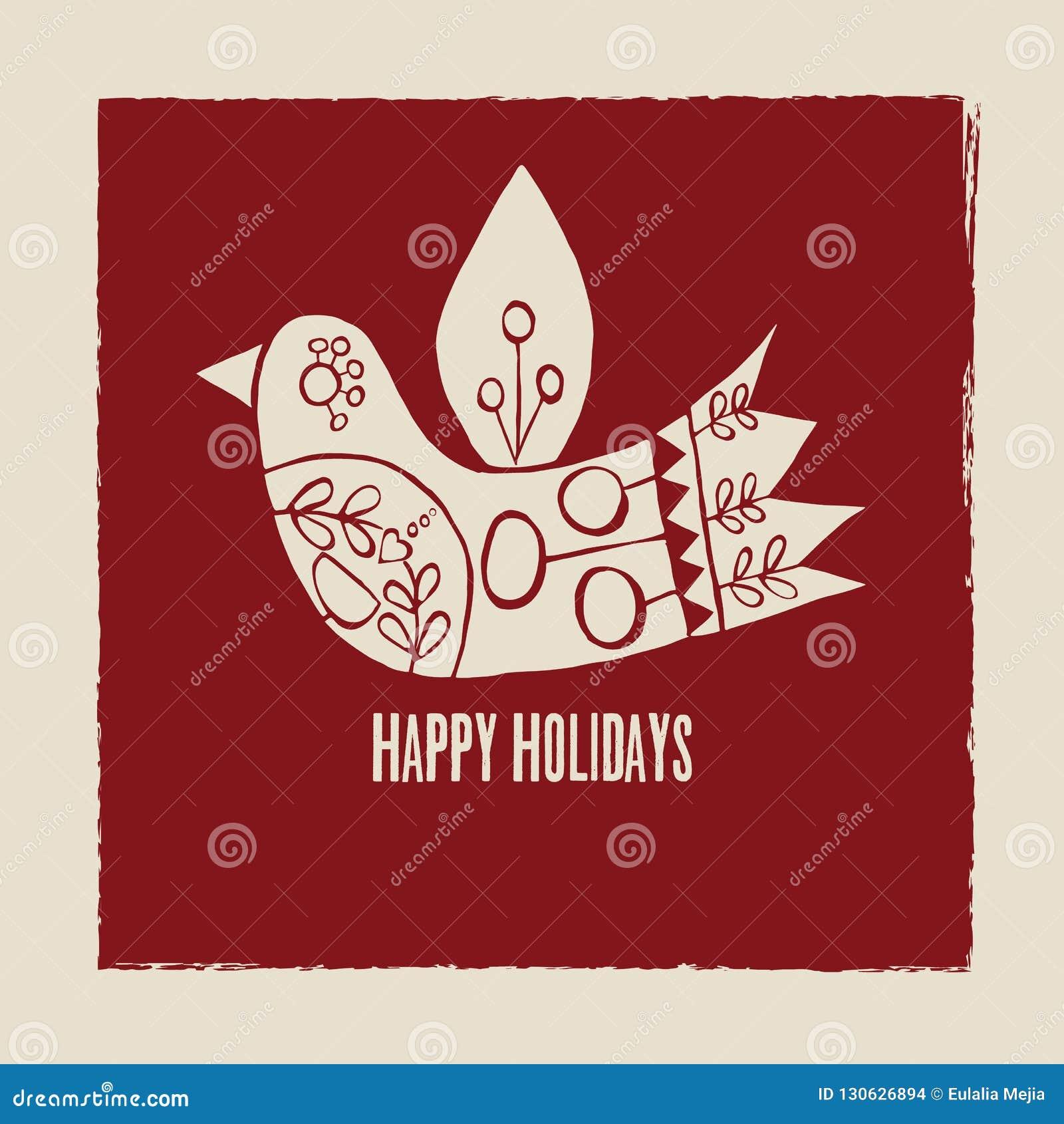 Bonnes fêtes carte de voeux d oiseau de crème de vecteur sur le fond rouge